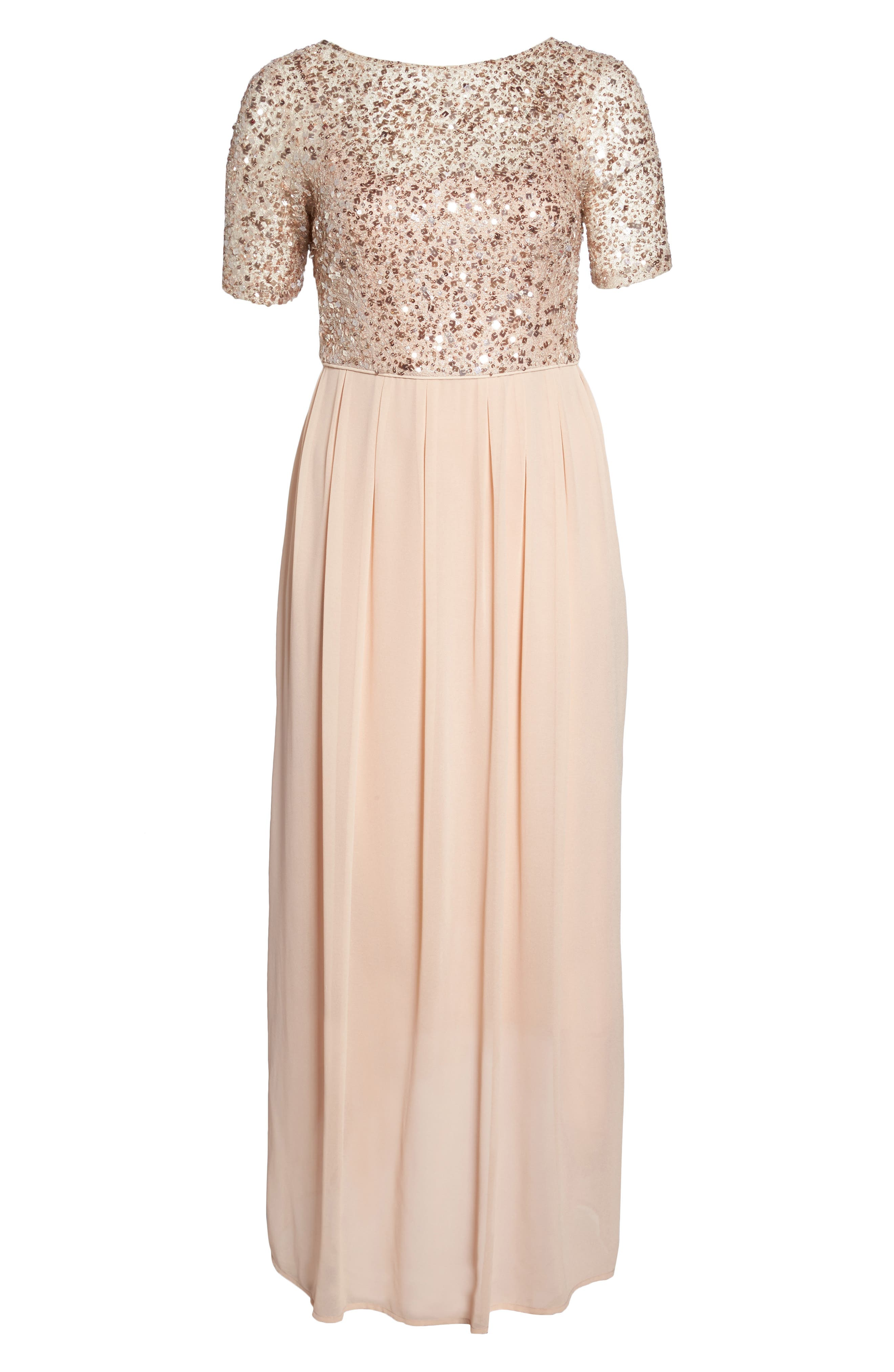Beaded Metallic Lace Gown,                             Alternate thumbnail 6, color,                             English Rose