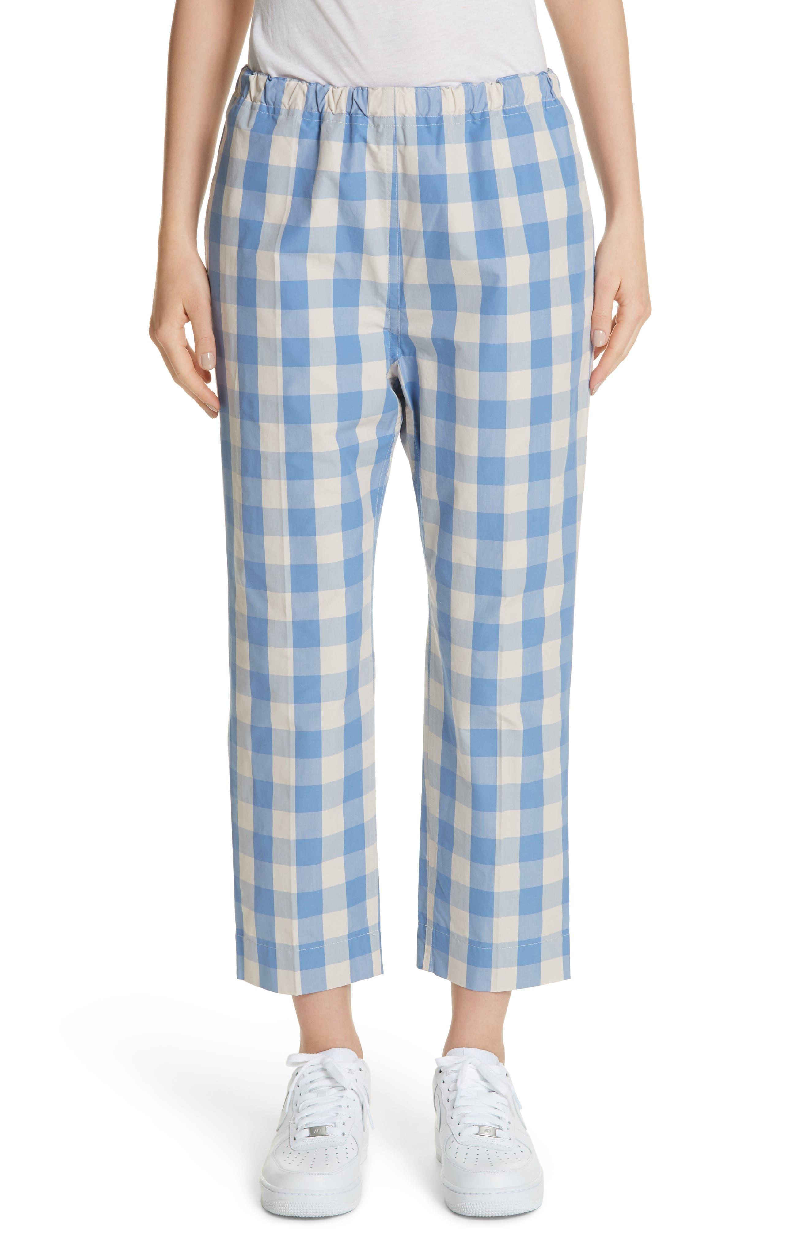Plaid Carrot Pants,                         Main,                         color, Sky/Cream