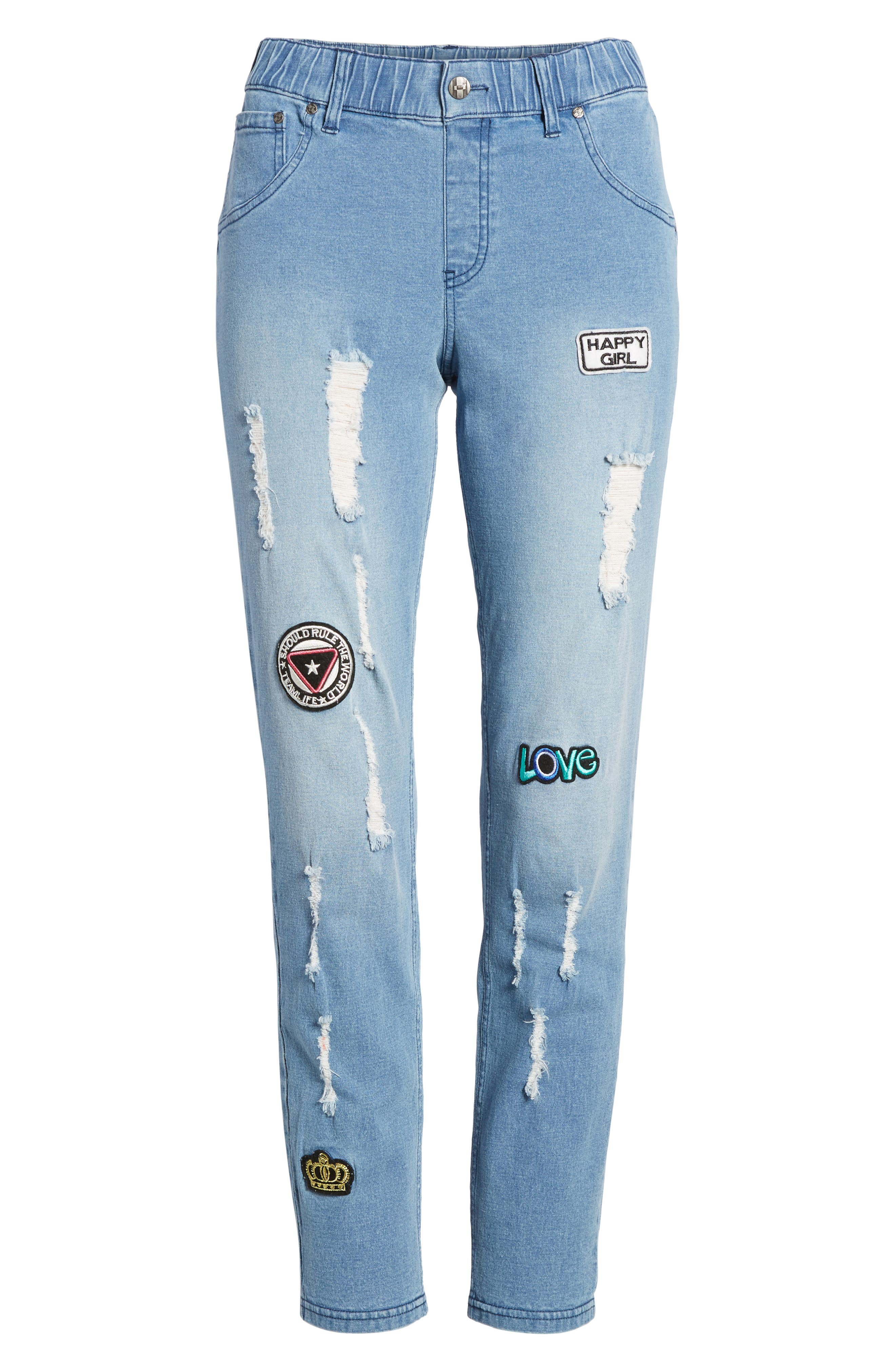 Alternate Image 6  - Hue Patched Distressed Denim Skimmer Leggings