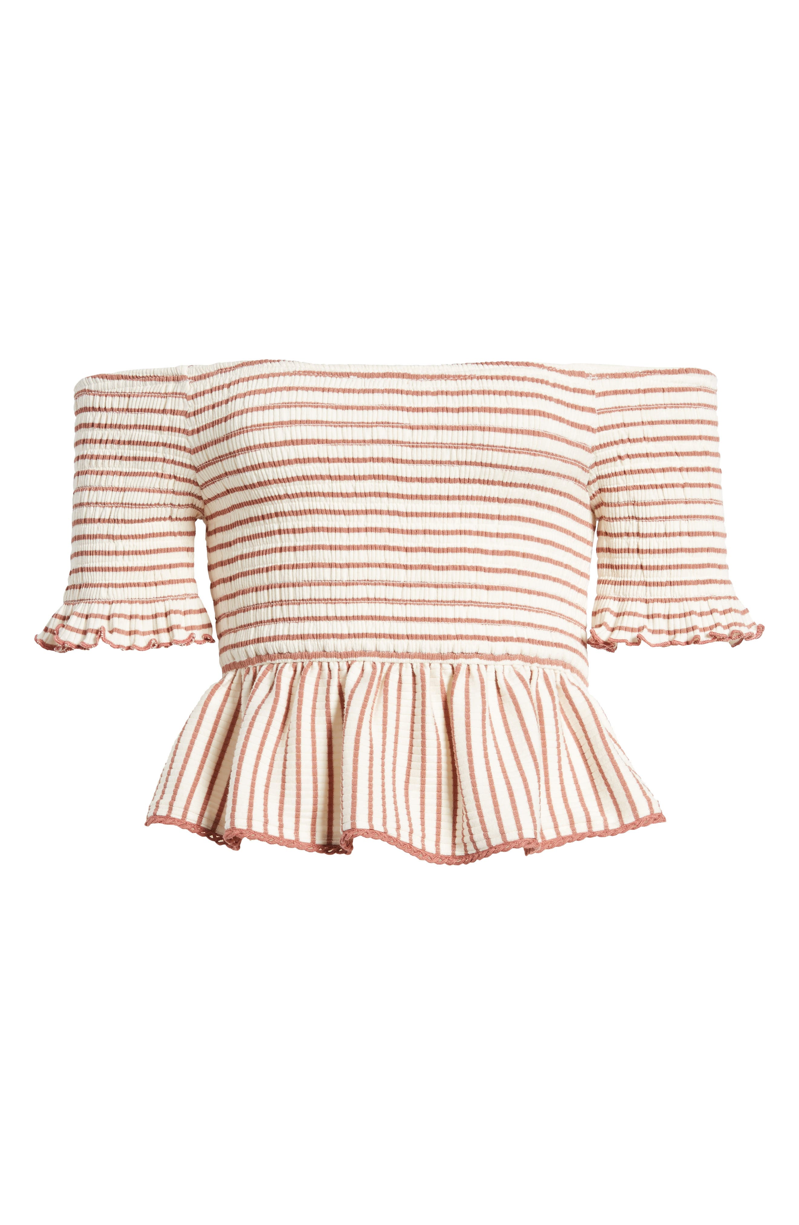 Off the Shoulder Stripe Peplum Top,                             Alternate thumbnail 8, color,                             Rose/ Ivory Stripe