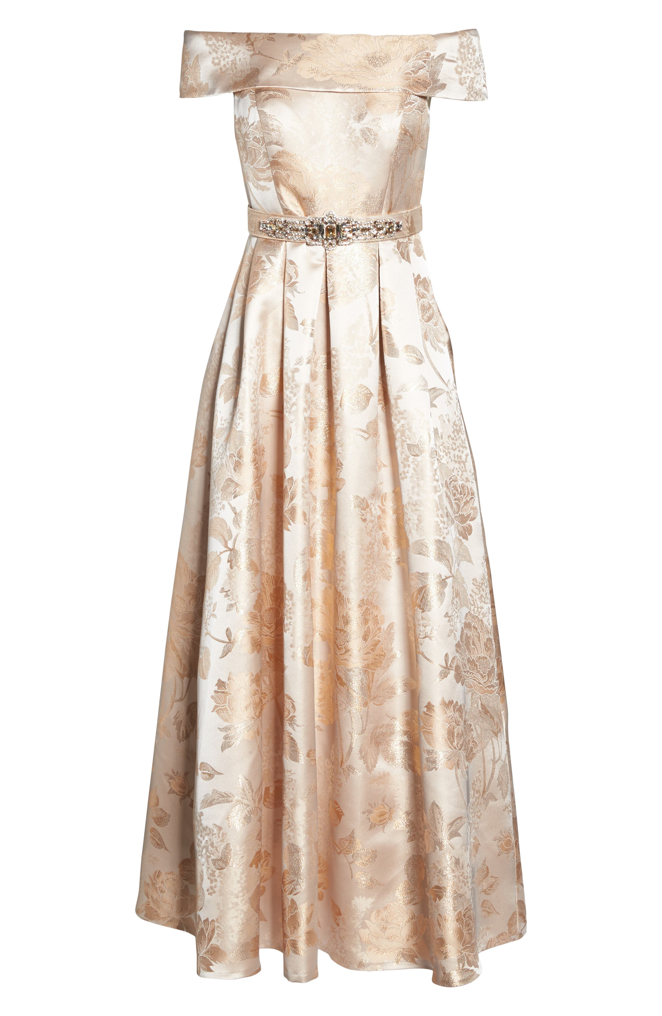 Belted Off the Shoulder Jacquard Ballgown,                             Alternate thumbnail 6, color,                             Champagne