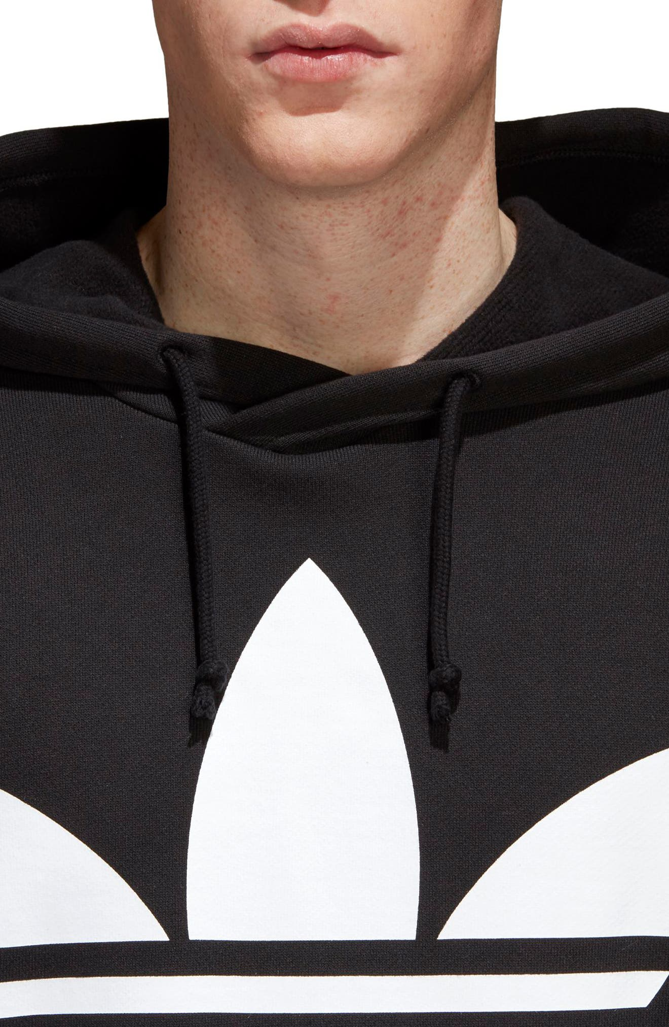 Trefoil Oversize Hoodie,                             Alternate thumbnail 4, color,                             Black
