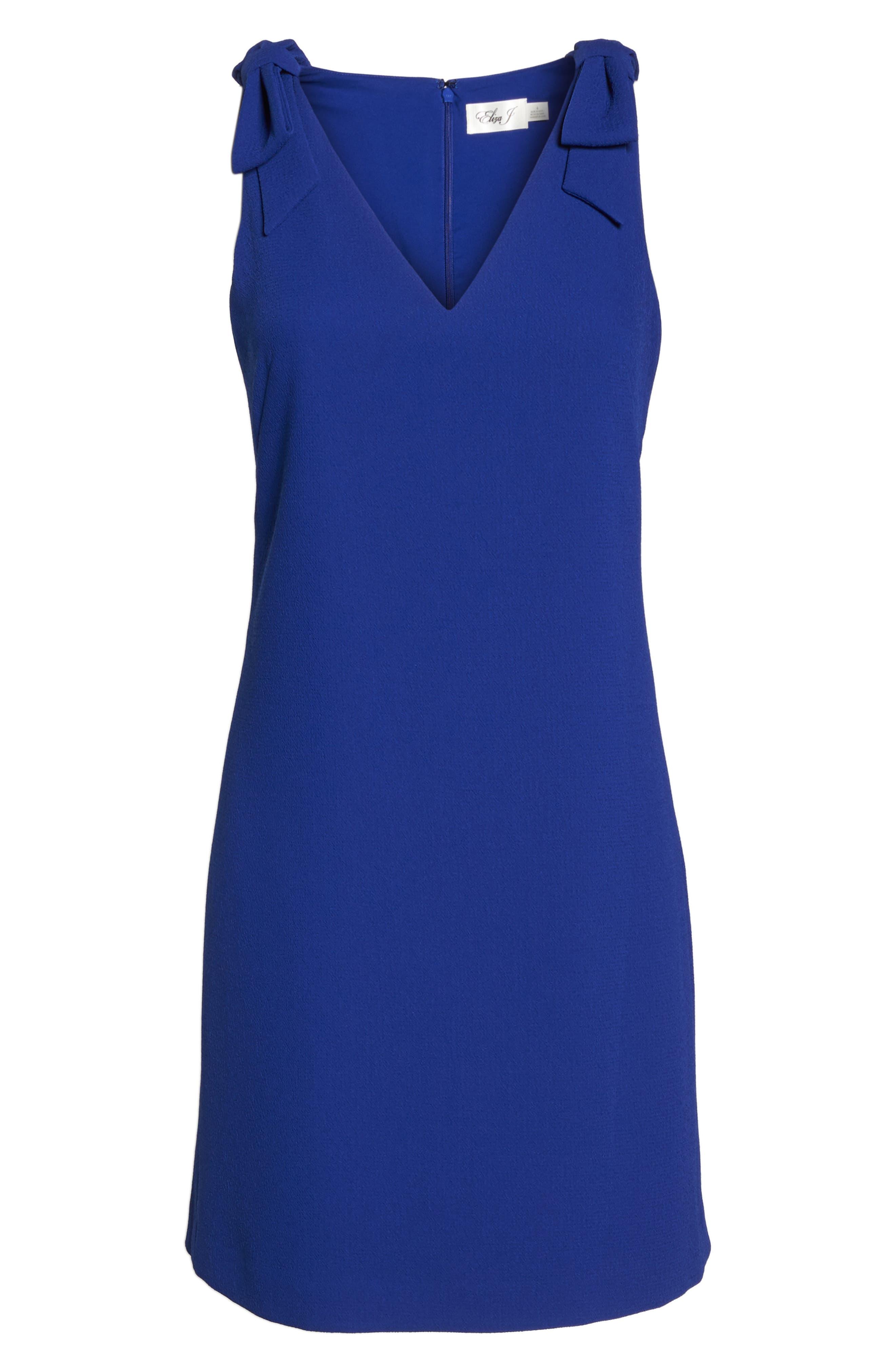 Bow Sheath Dress,                             Alternate thumbnail 6, color,                             Cobalt