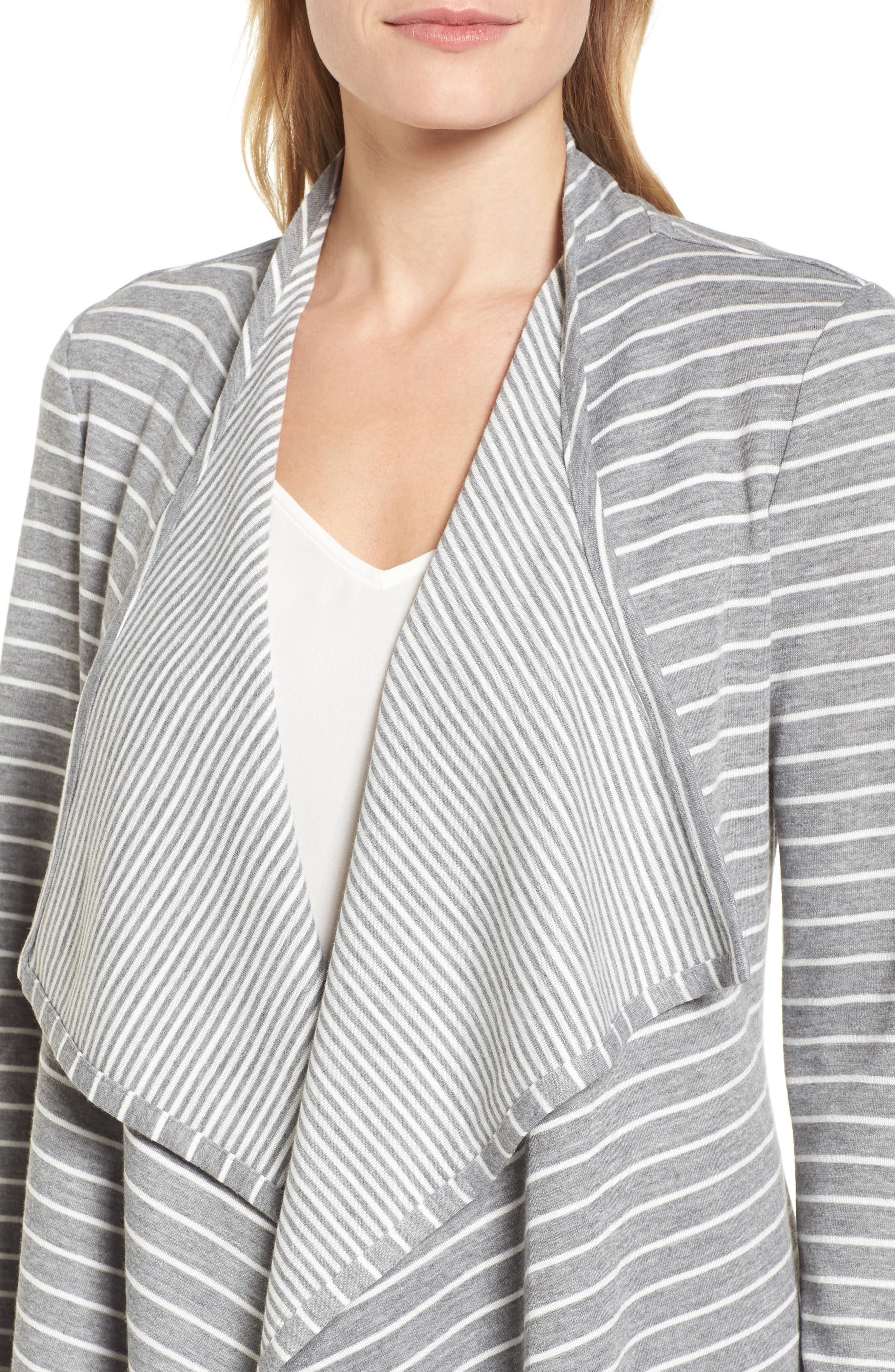 Mixed Stripe Cardigan,                             Alternate thumbnail 4, color,                             050-Grey Heather