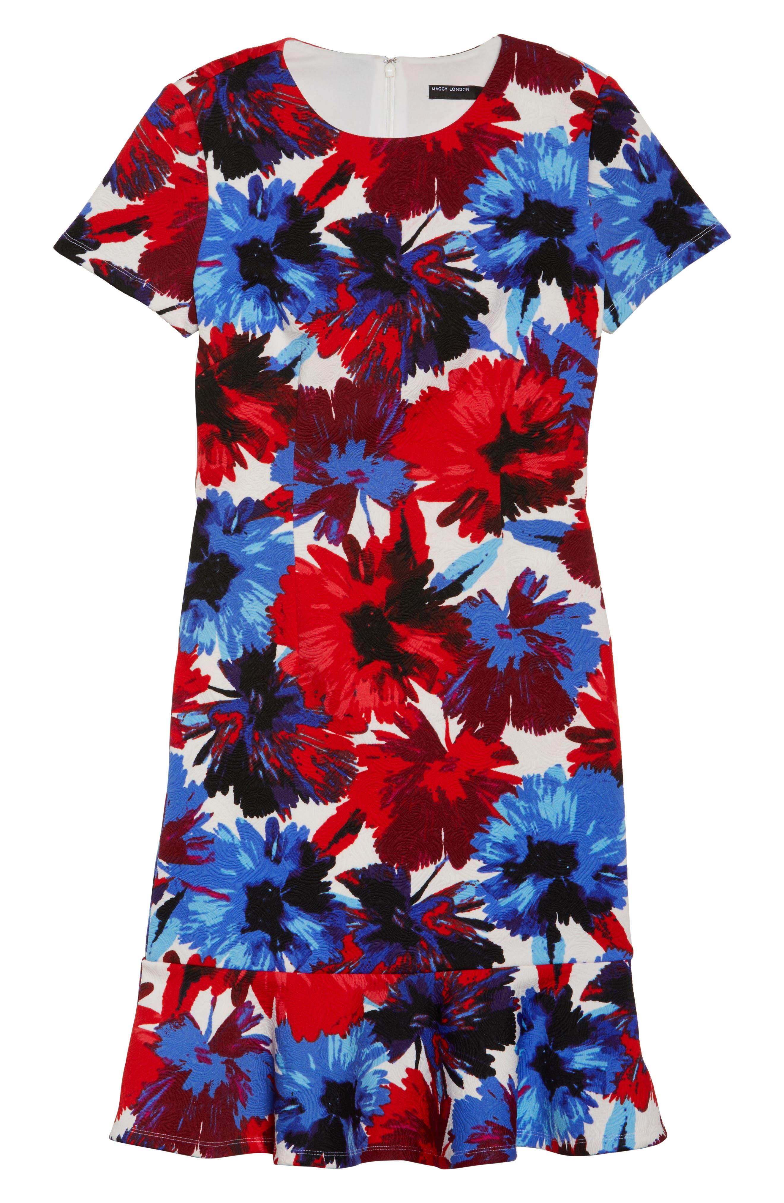 Flounce Dress,                             Alternate thumbnail 6, color,                             White/ Red