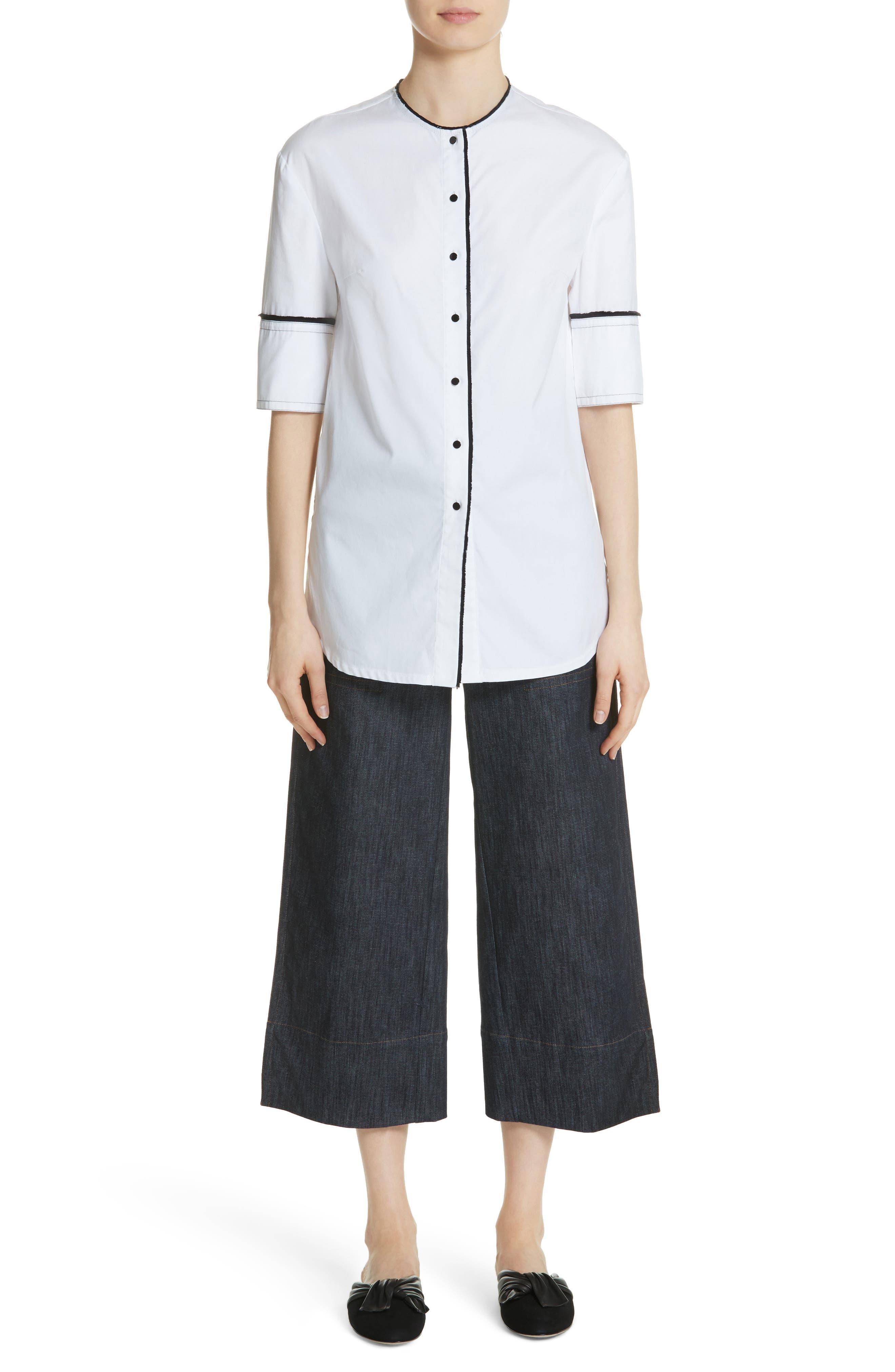 Crop Back Poplin Shirt,                             Alternate thumbnail 8, color,                             White