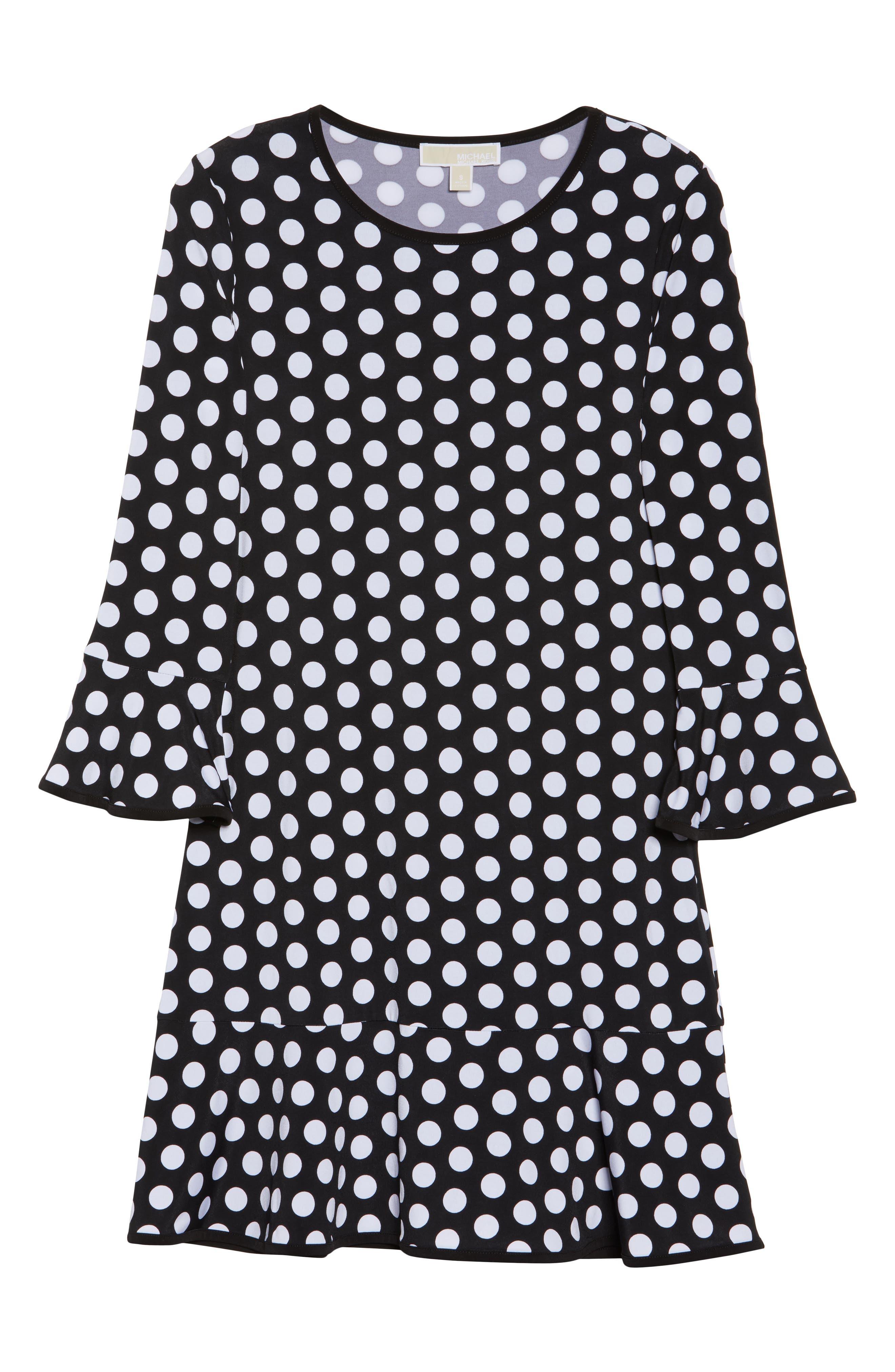 Simple Dot Swing Dress,                             Alternate thumbnail 6, color,                             Black/ White