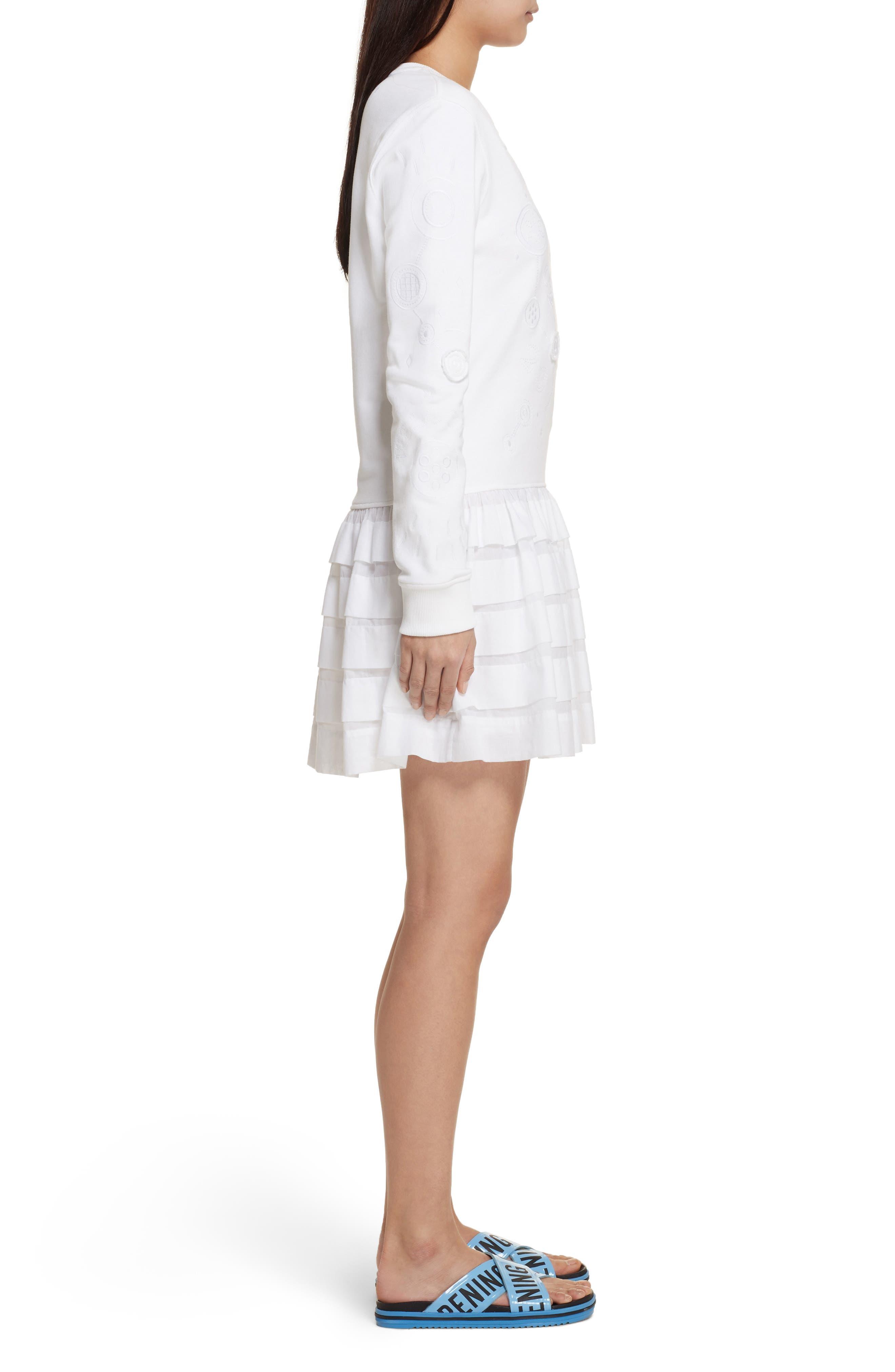 Embroidered Ruffle Hem Dress,                             Alternate thumbnail 3, color,                             White