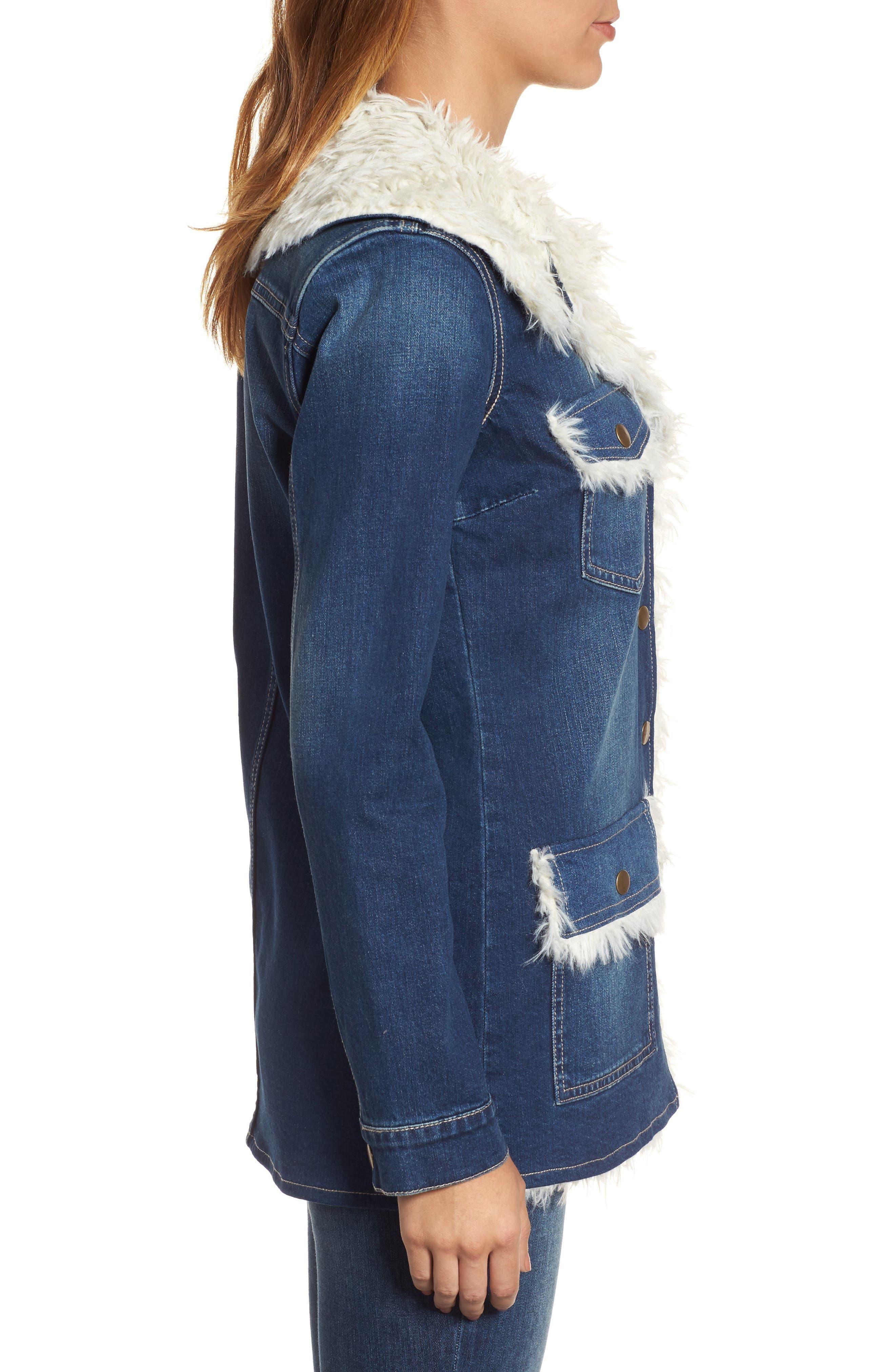 Alternate Image 3  - KUT from the Kloth Faux Shearling Trim Denim Jacket