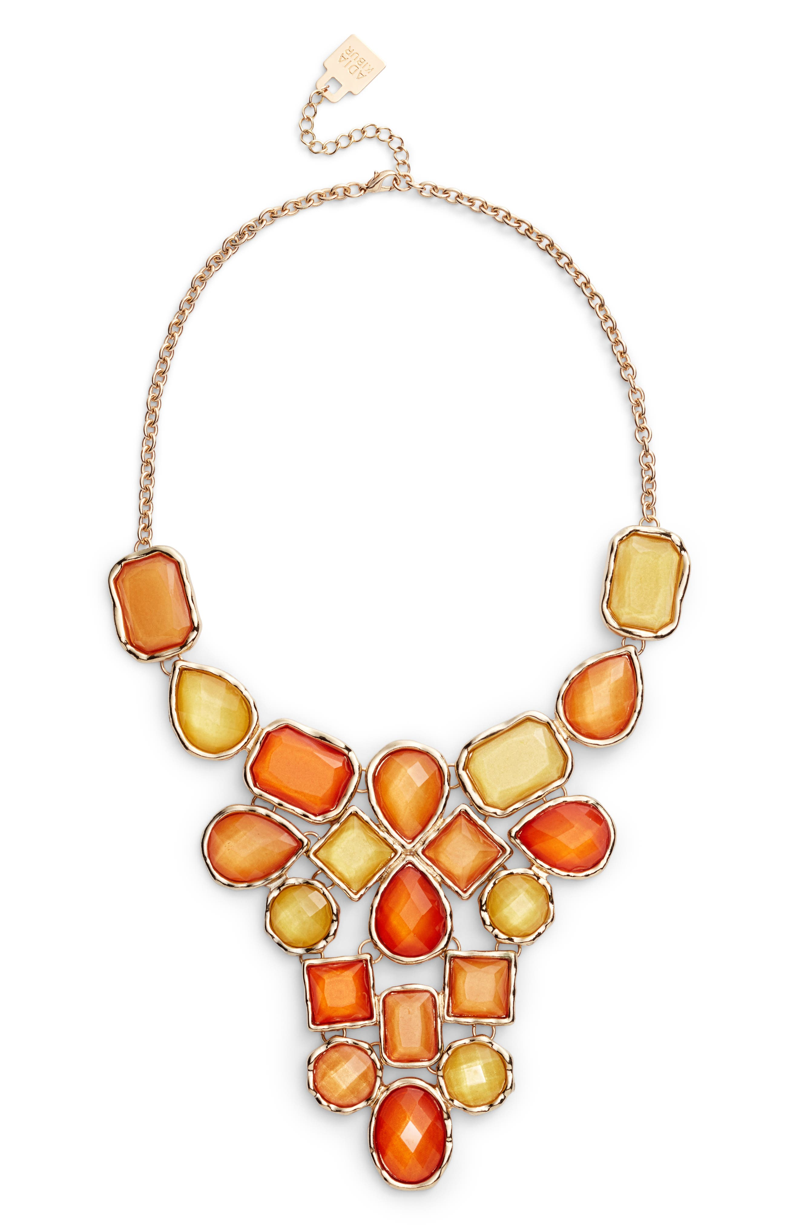 Stone Statement Necklace,                             Alternate thumbnail 2, color,                             Orange