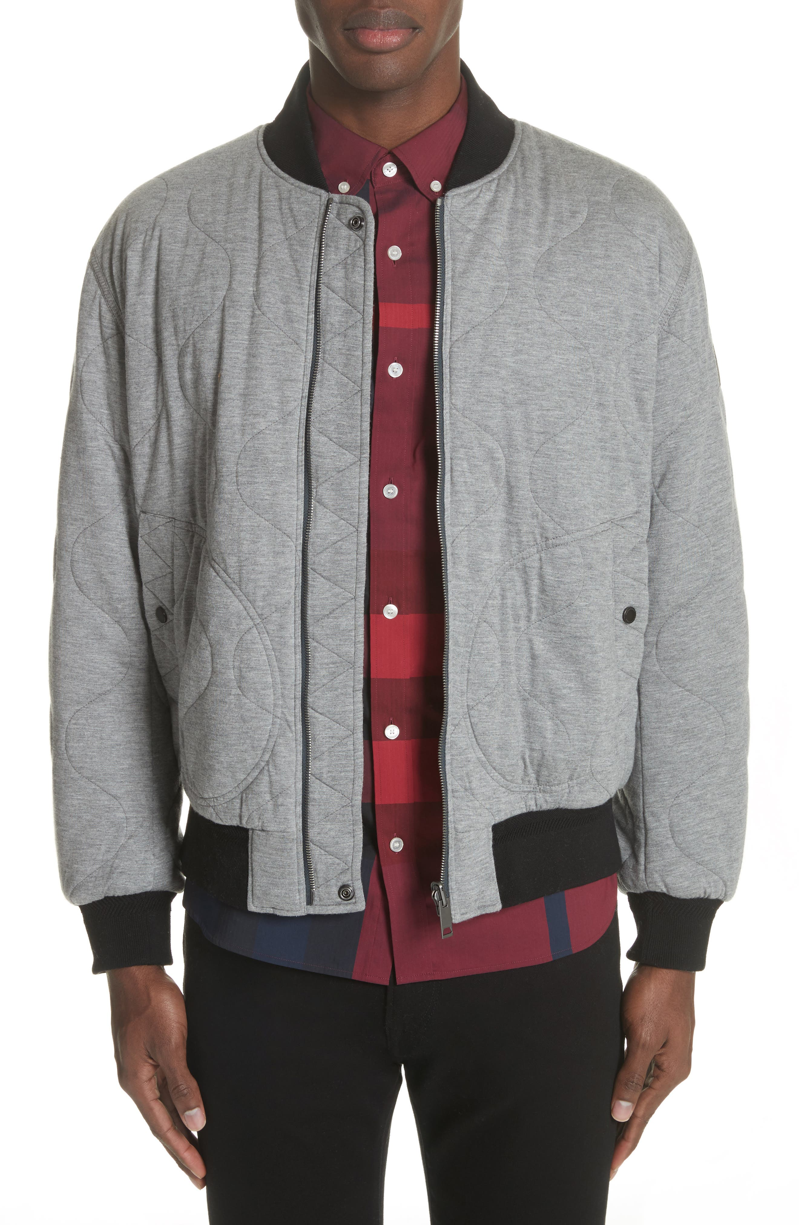 Campton Reversible Quilted Jersey Bomber Jacket,                         Main,                         color, Mid Grey Melange