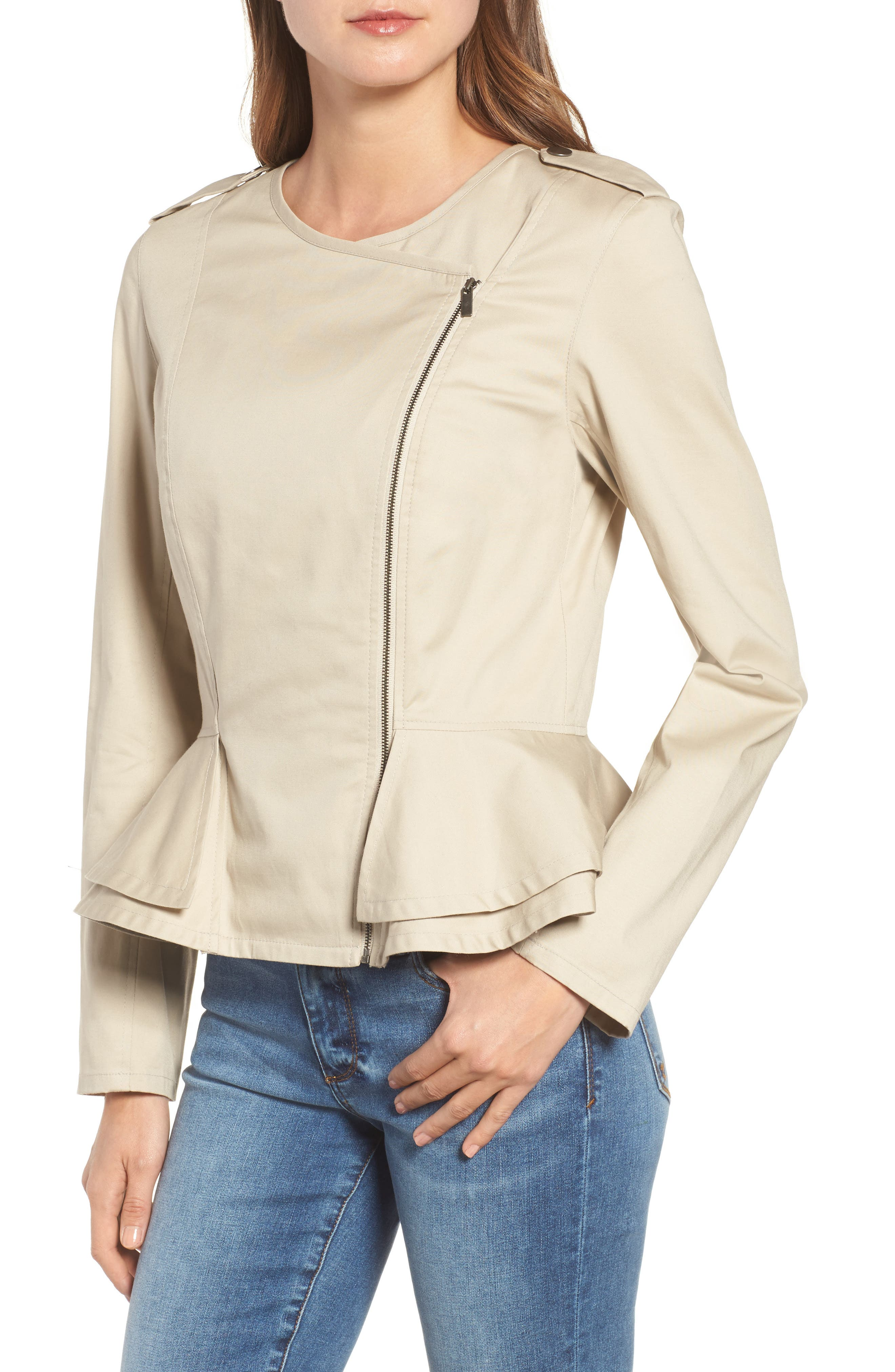 Asymmetrical Zip Peplum Jacket,                             Alternate thumbnail 4, color,                             Tan Oxford