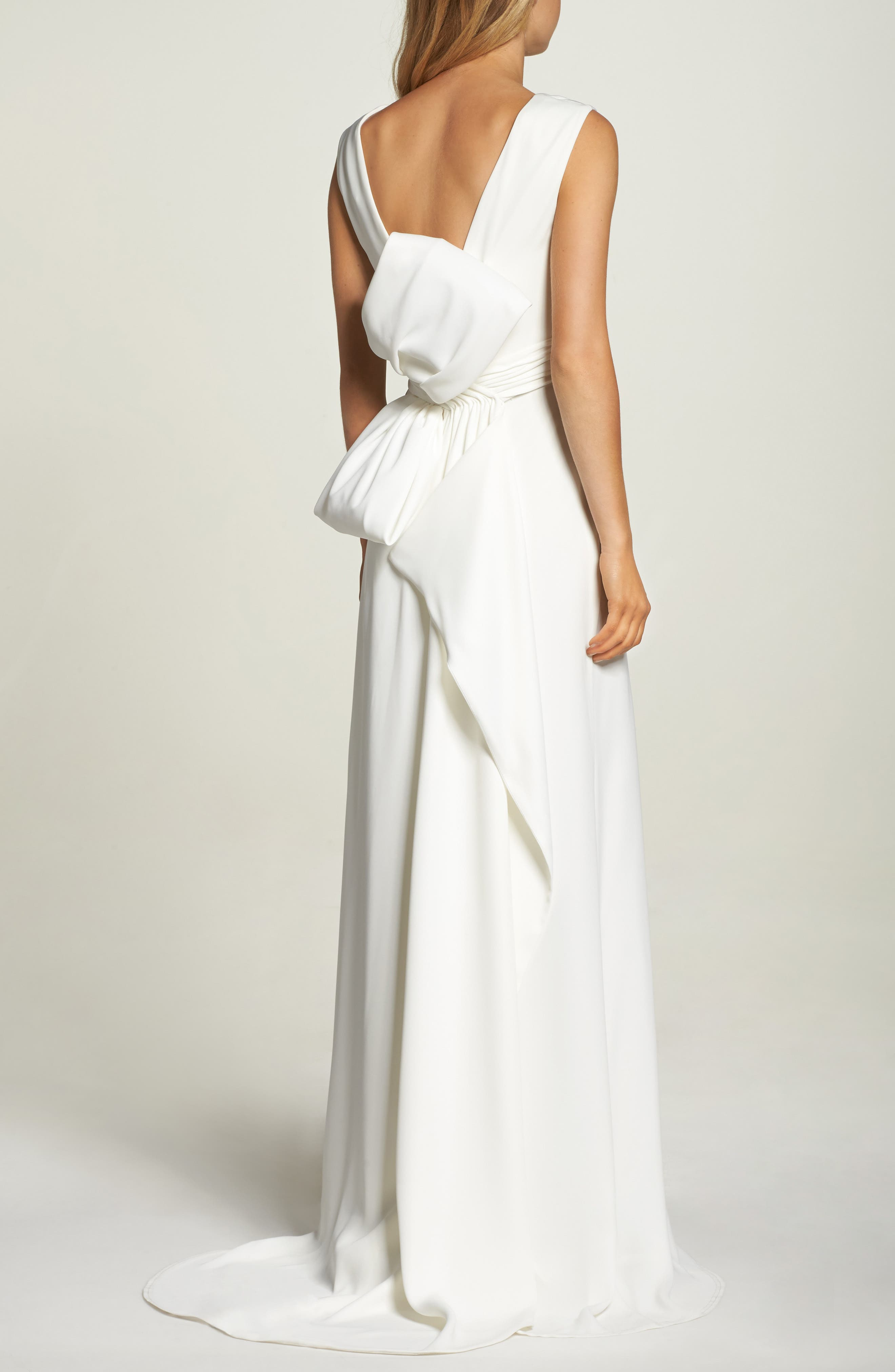 Statement Bow Crepe Gown,                             Alternate thumbnail 2, color,                             Ivory