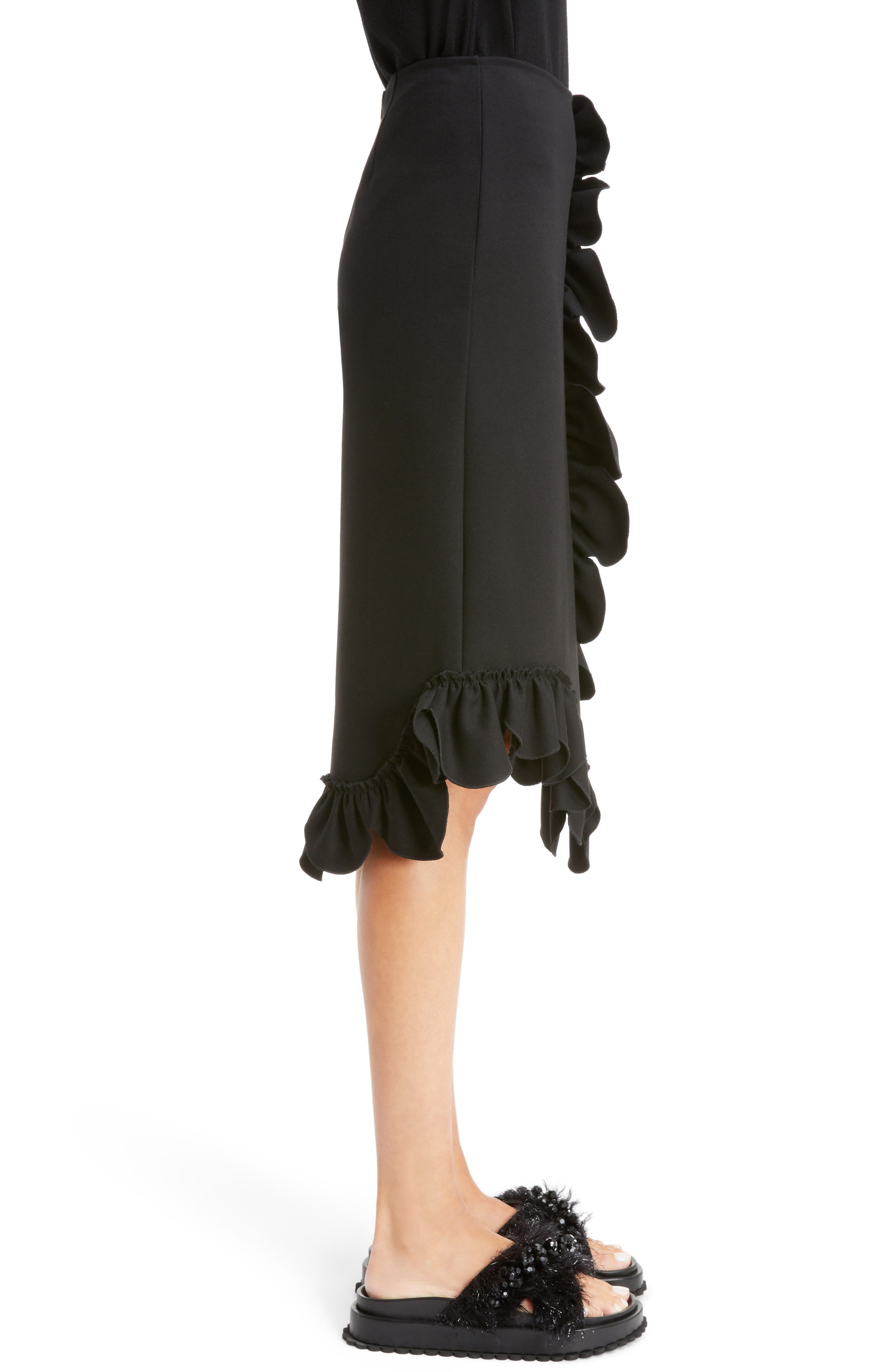 Asymmetrical Ruffle Skirt,                             Alternate thumbnail 4, color,                             Black