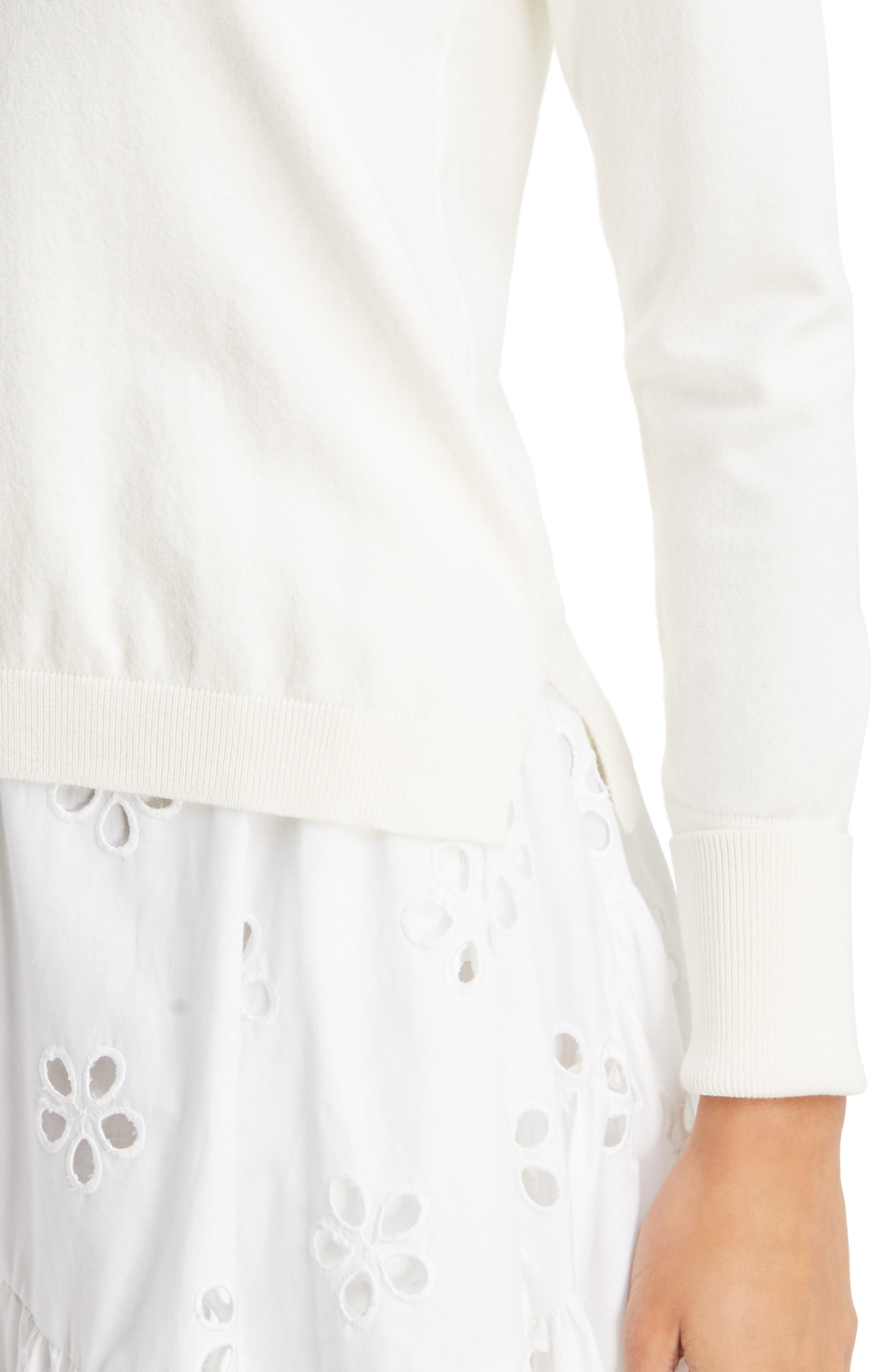 Imitation Pearl Embellished Sweater,                             Alternate thumbnail 5, color,                             Ivory Pearl