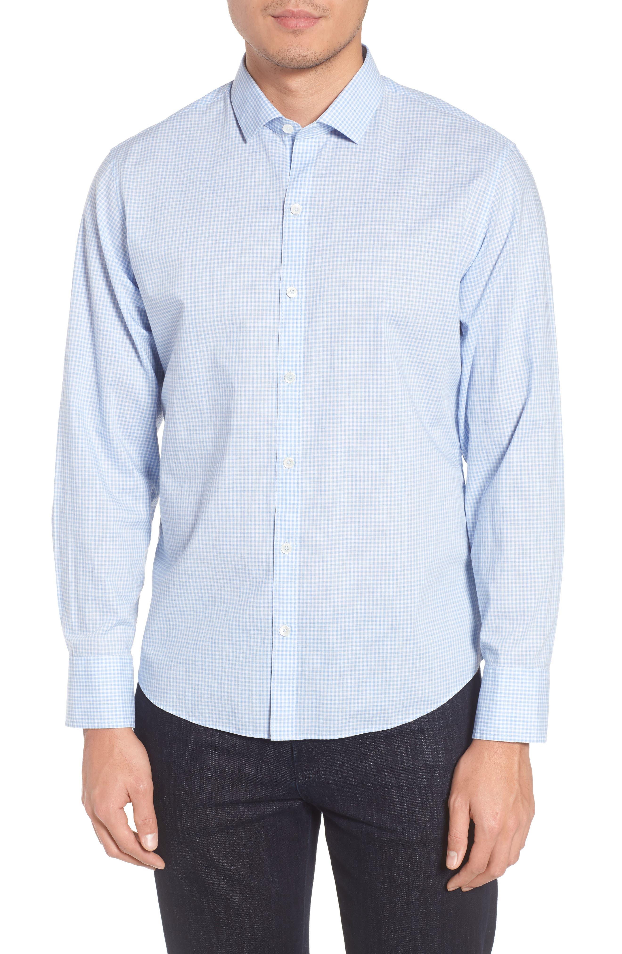 McGarry Gingham Sport Shirt,                         Main,                         color, Light Blue