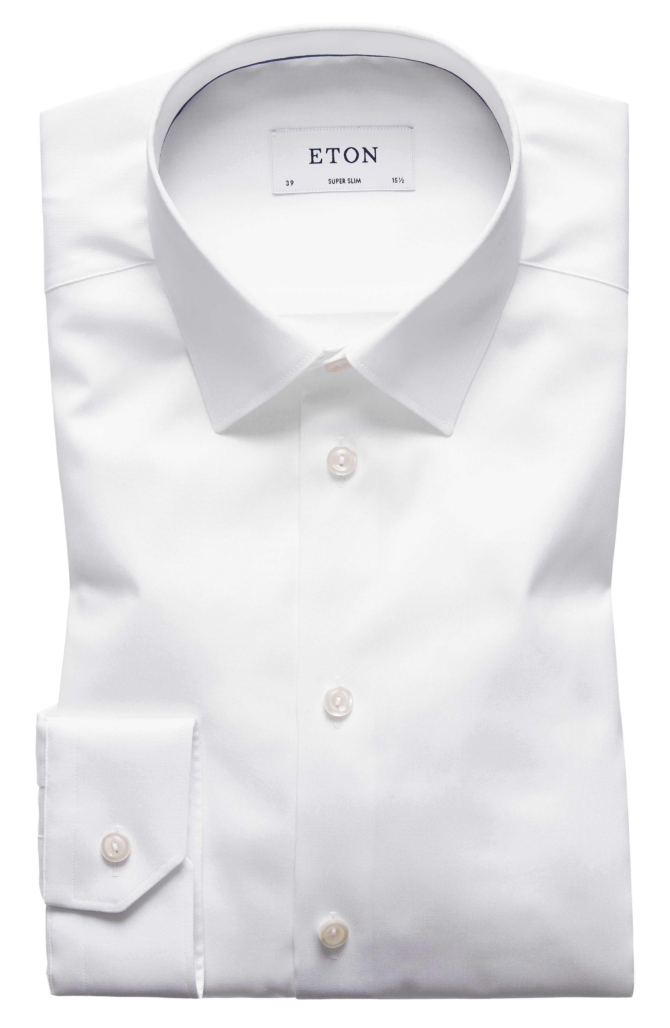 Super Slim Fit Twill Dress Shirt,                         Main,                         color, White