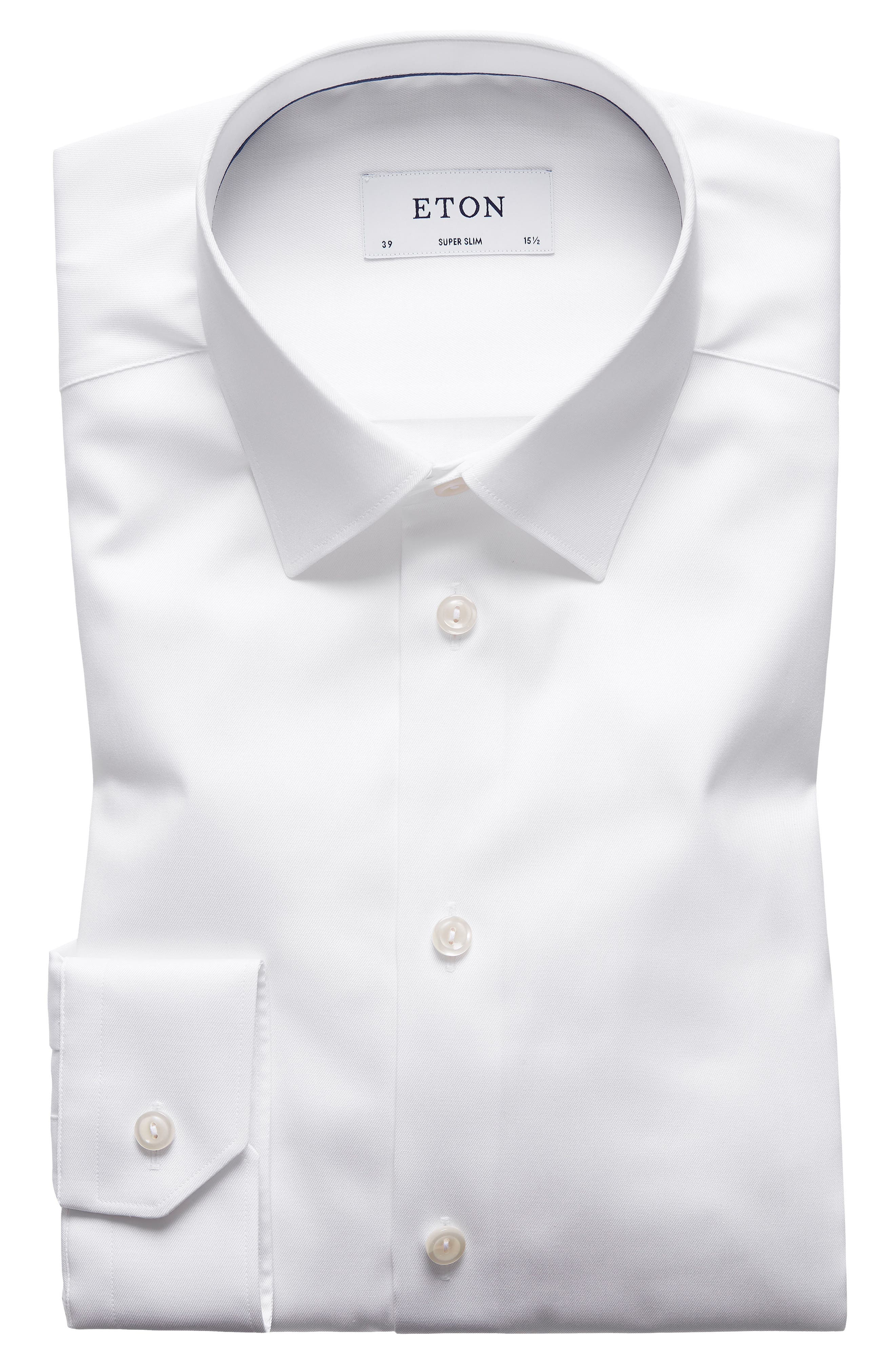 Super Slim Fit Twill Dress Shirt,                         Main,                         color, White