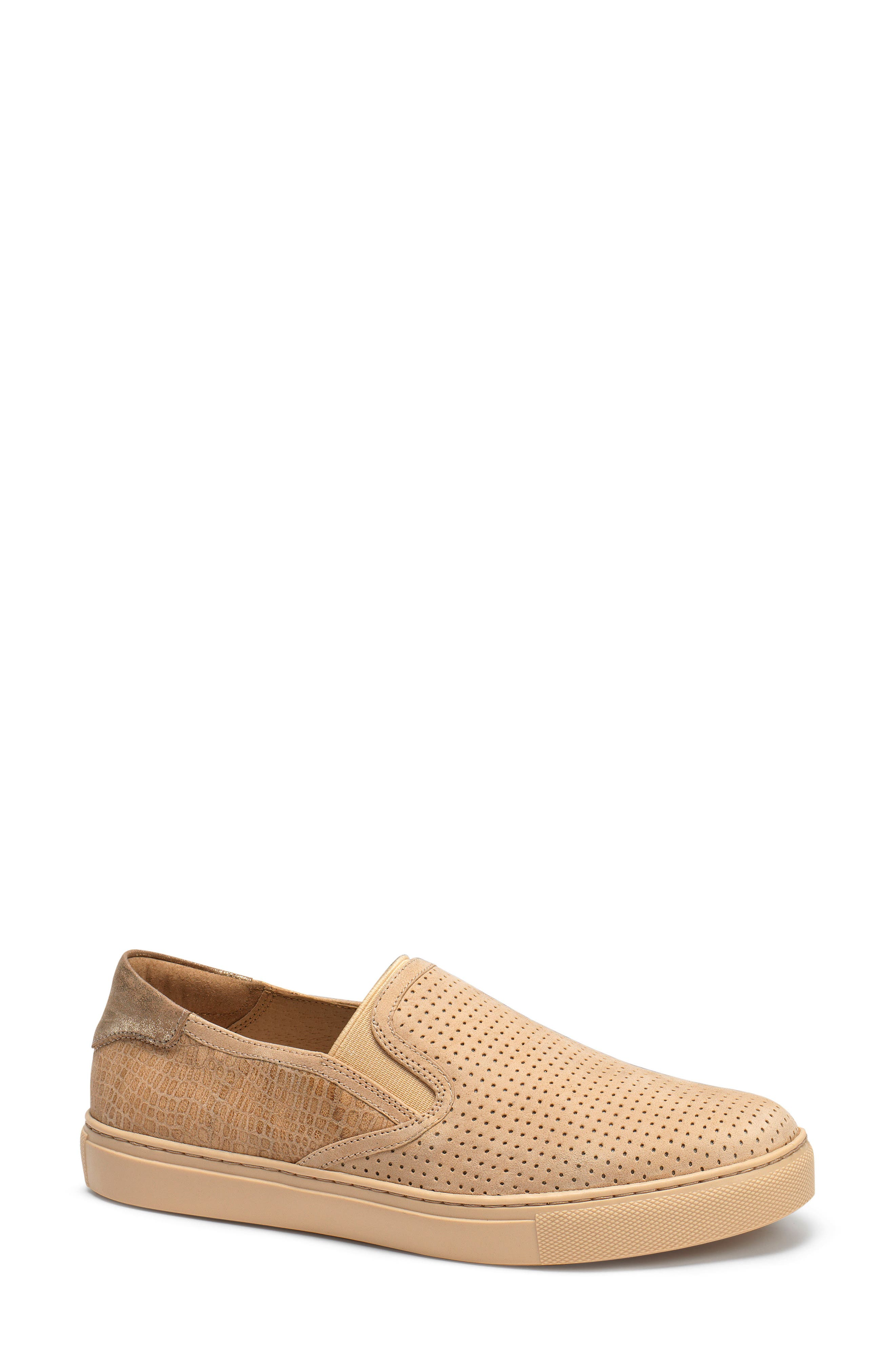 Lillian Water Resistant Slip-On Sneaker,                             Main thumbnail 1, color,                             Beige Leather