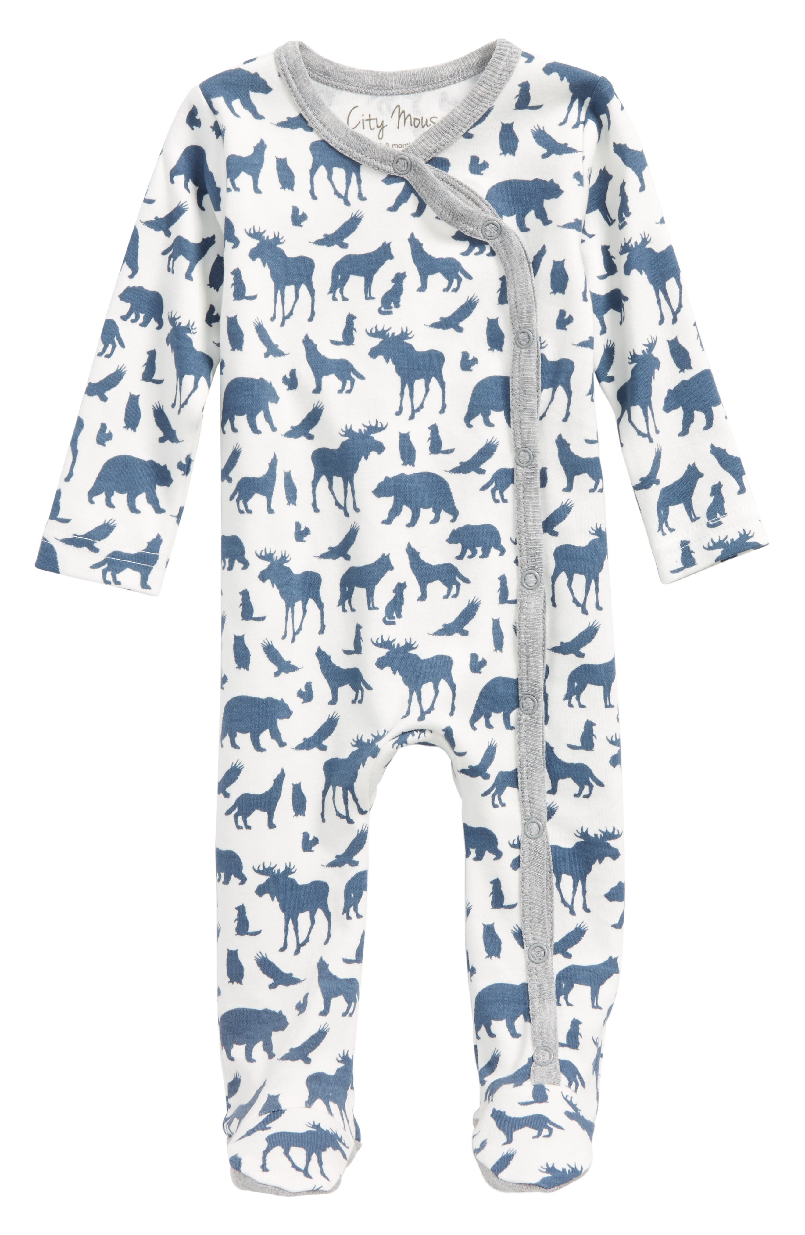 Animal Print Organic Cotton Footie,                             Main thumbnail 1, color,                             Off White / Blue