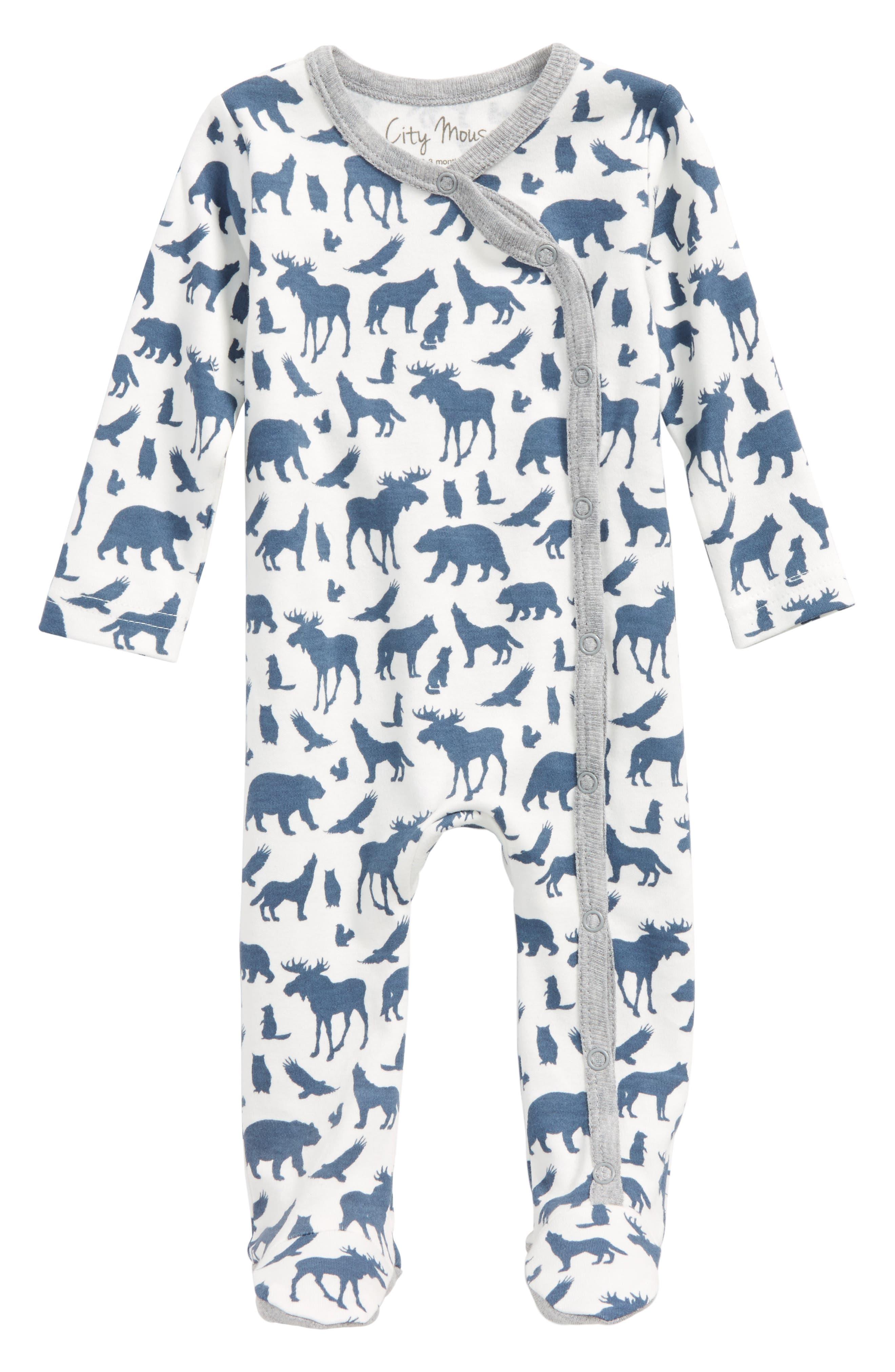 Animal Print Organic Cotton Footie,                         Main,                         color, Off White / Blue