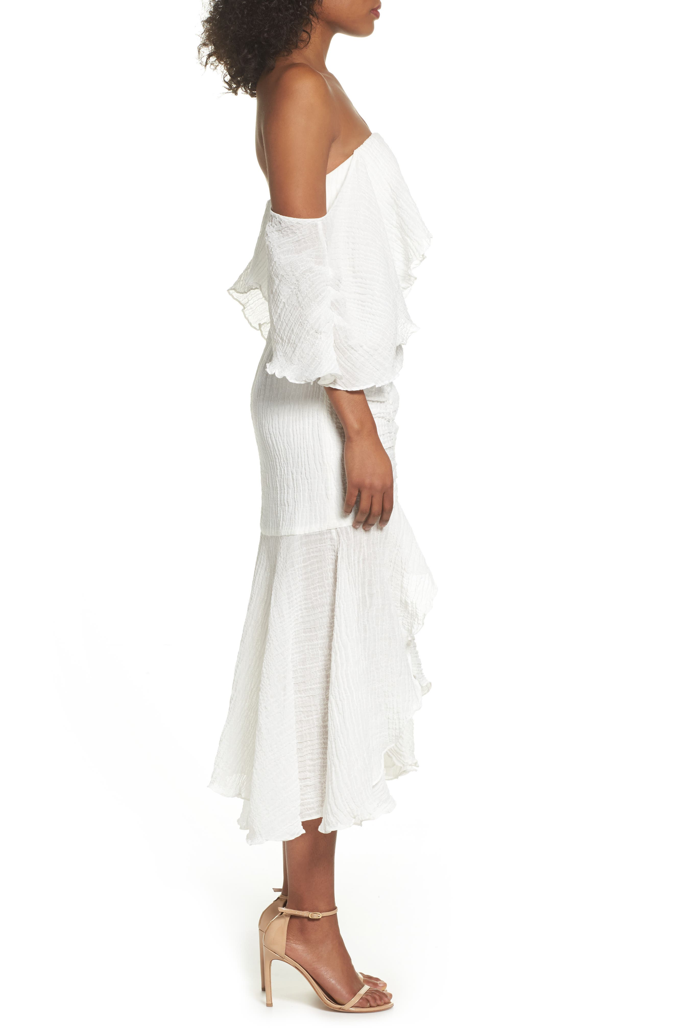 Sacrifices Ruched Off the Shoulder Dress,                             Alternate thumbnail 4, color,                             Ivory