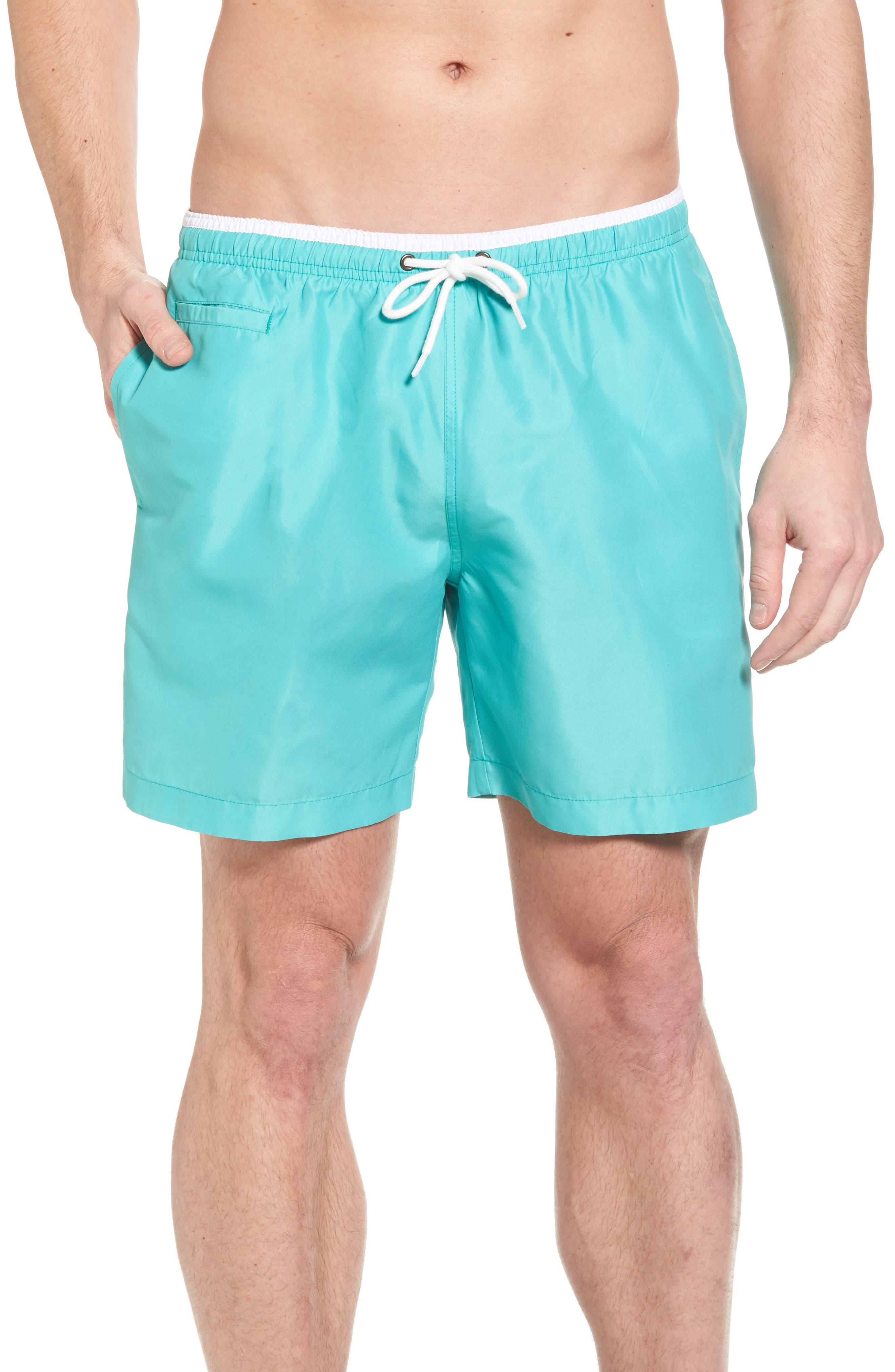 San O Swim Trunks,                         Main,                         color, Sea Green/ White