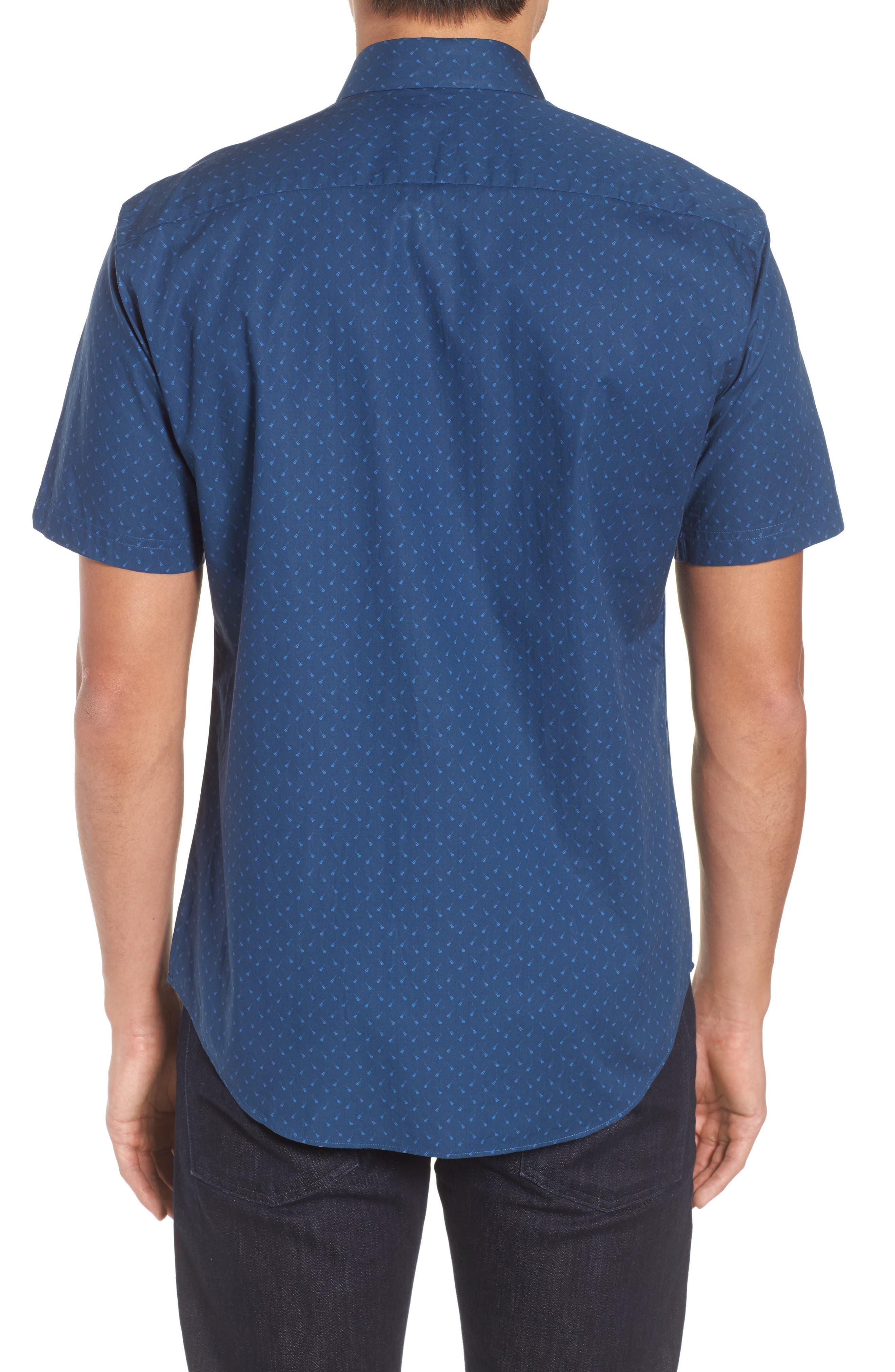 Shelton Slim Fit Guitar Print Sport Shirt,                             Alternate thumbnail 2, color,                             Dark Blue