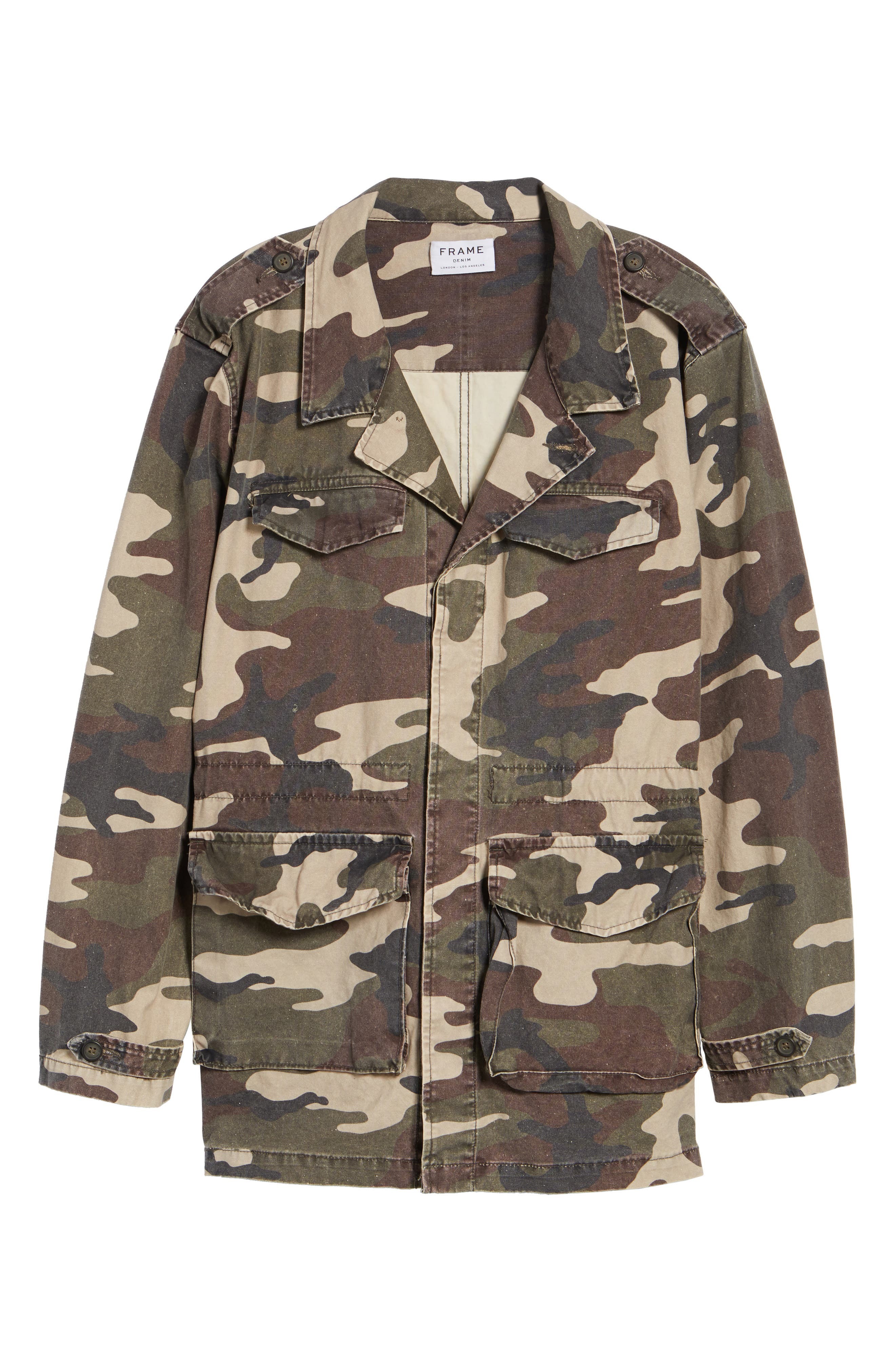 Denim Regular Fit Camo Field Jacket,                             Alternate thumbnail 6, color,                             Camo
