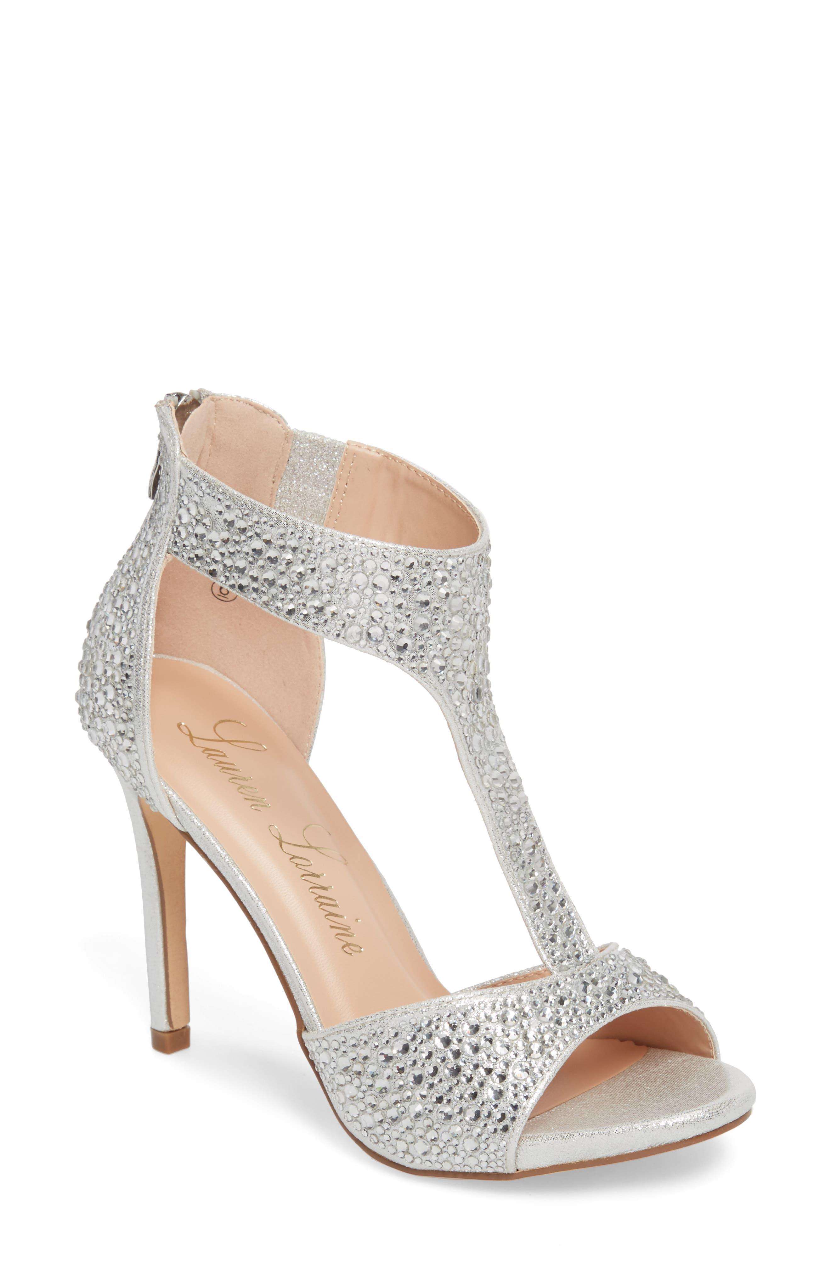 Ina Crystal Embellished Sandal,                             Main thumbnail 1, color,                             Silver