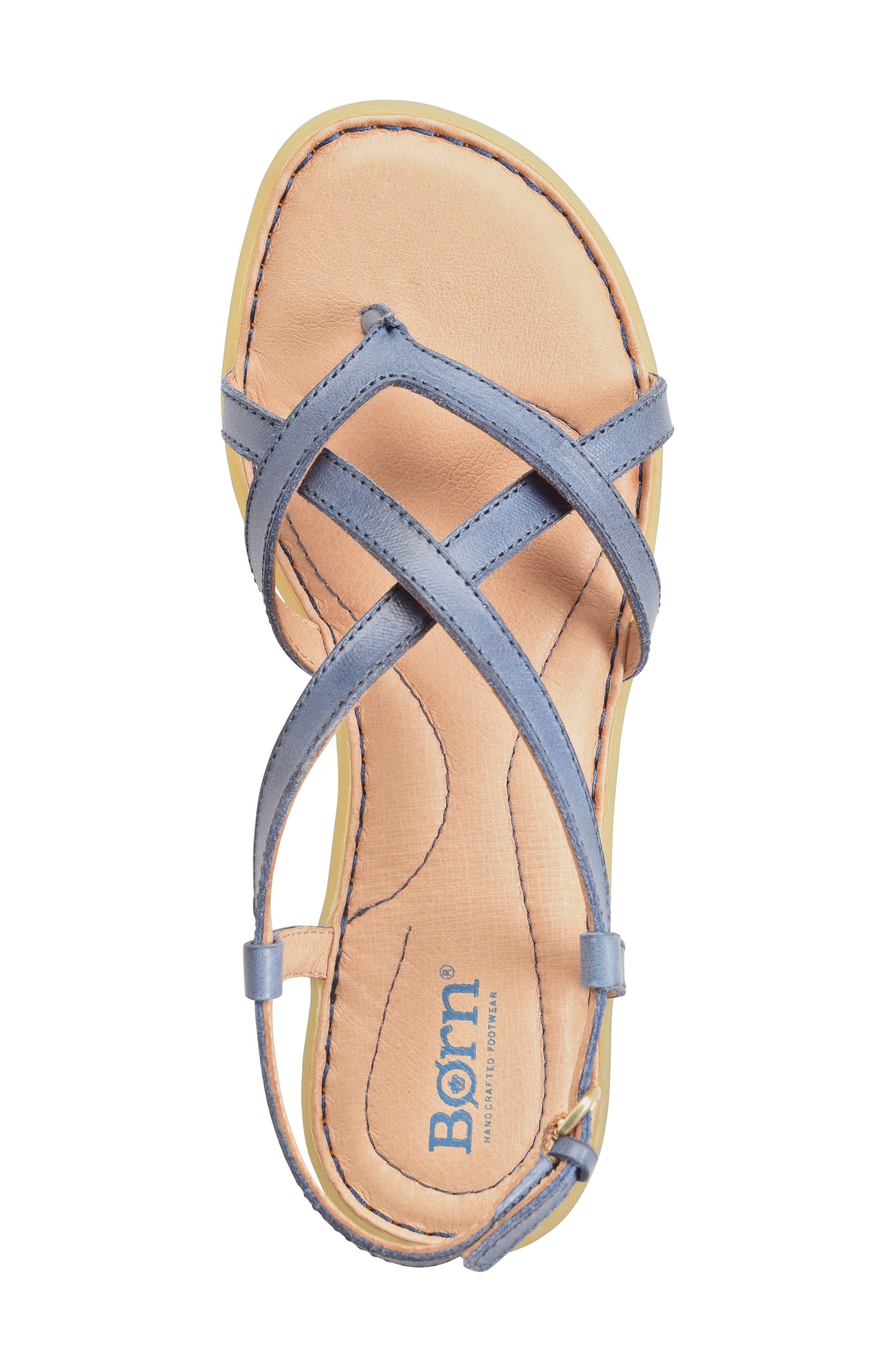 Mai Strap Sandal,                             Alternate thumbnail 5, color,                             Navy Leather