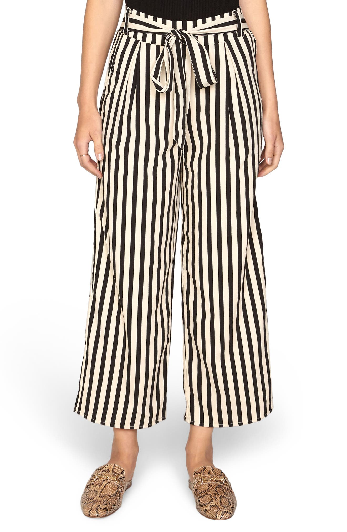 Stripe Crop Wide Leg Pants,                         Main,                         color, Black Sands