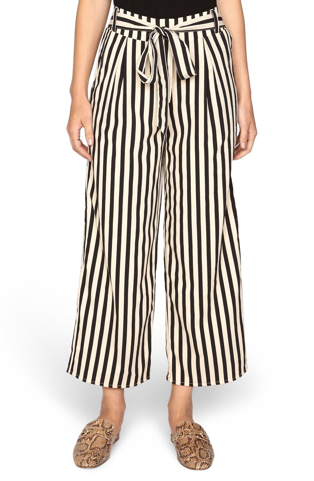 Stripe Crop Wide Leg Pants,                         Main,                         color, Black Sands