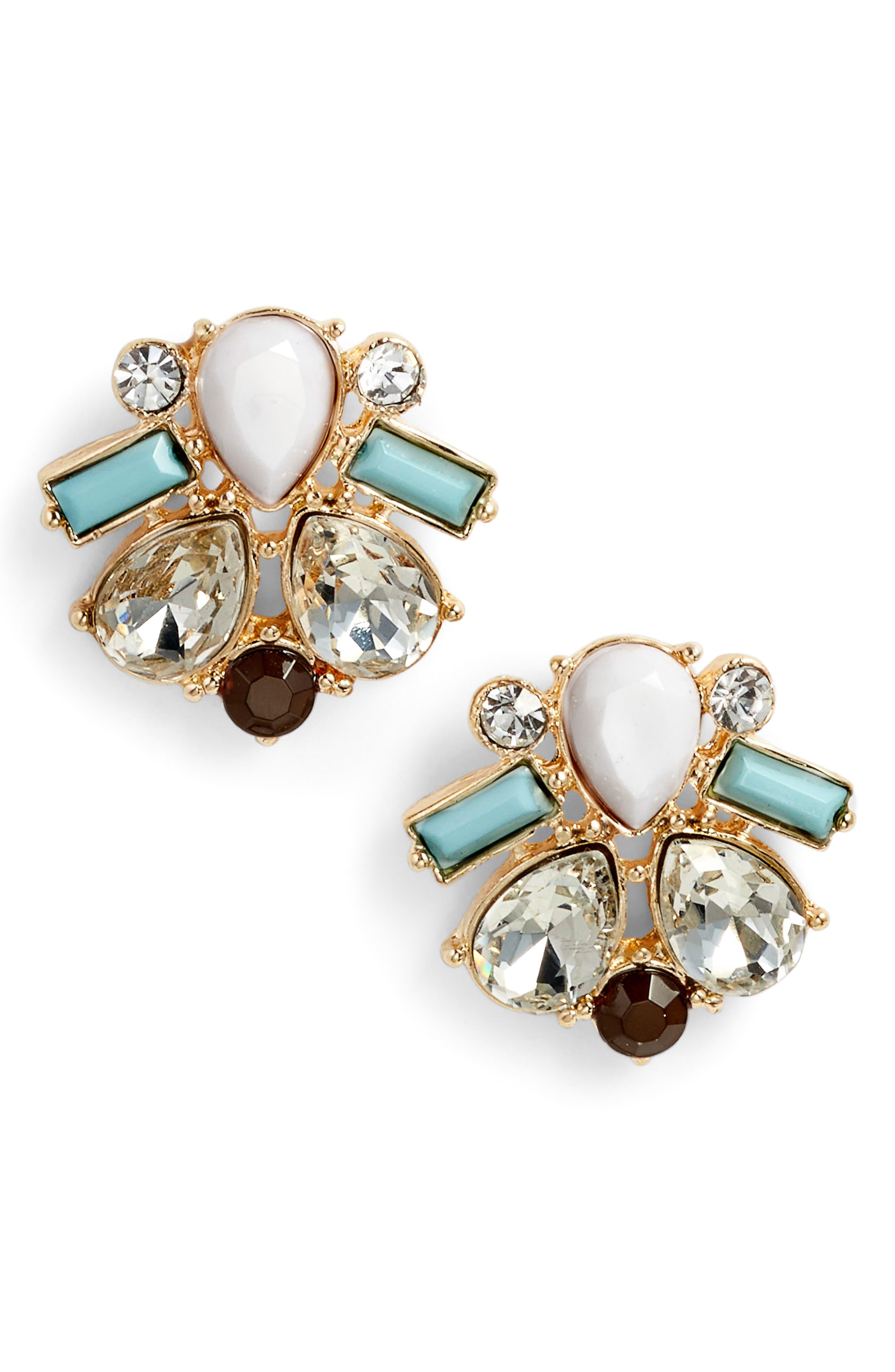 Crystal & Stone Stud Earrings,                             Main thumbnail 1, color,                             White/ Mint/ Gold