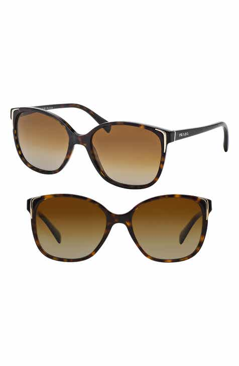 9bb35d6e03f3c Prada 55mm Polarized Cat Eye Sunglasses.  310.00. Product Image. BLACK   HAVANA