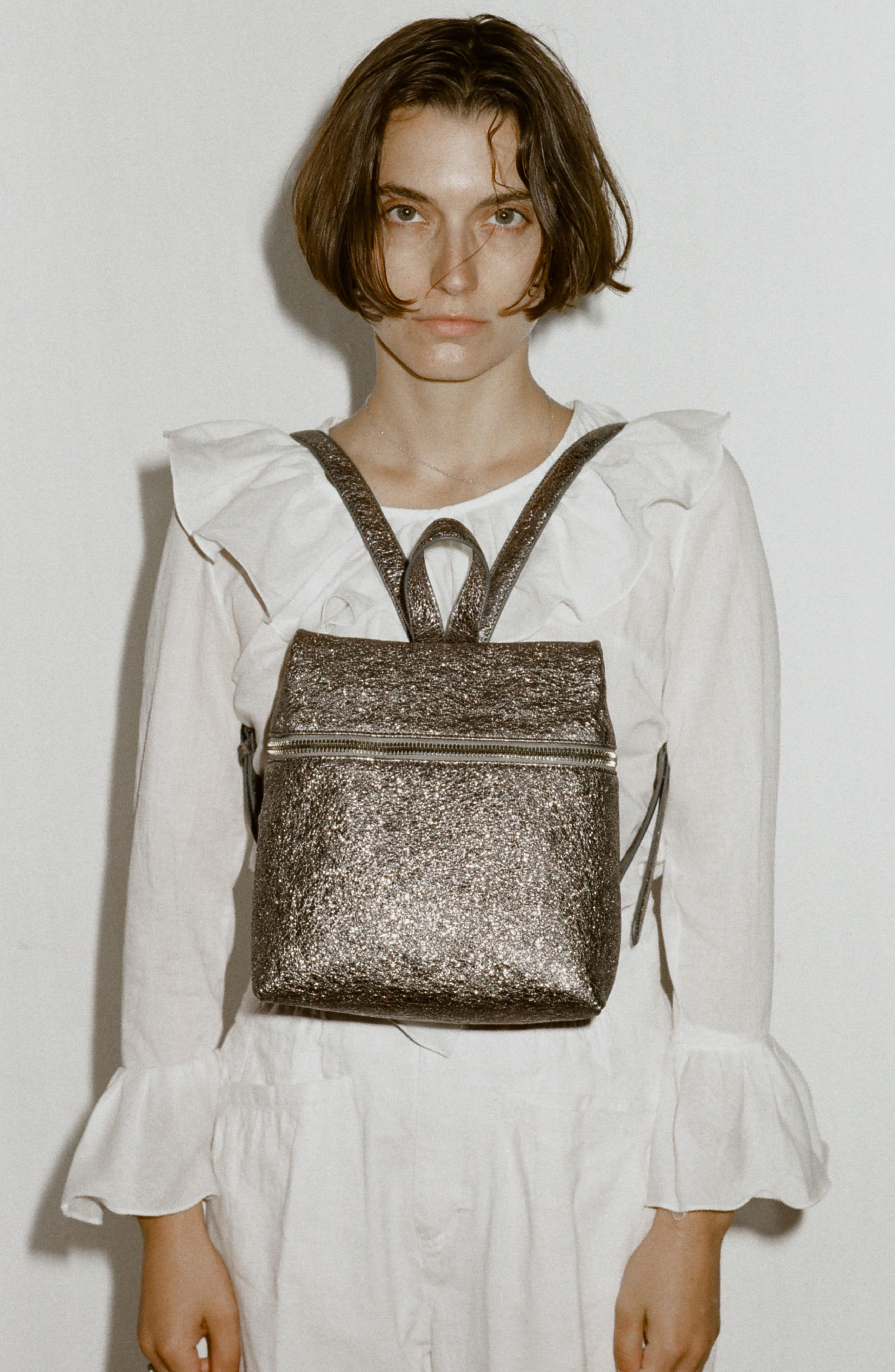 Small Crinkled Metallic Leather Backpack,                             Alternate thumbnail 9, color,                             Pyrite