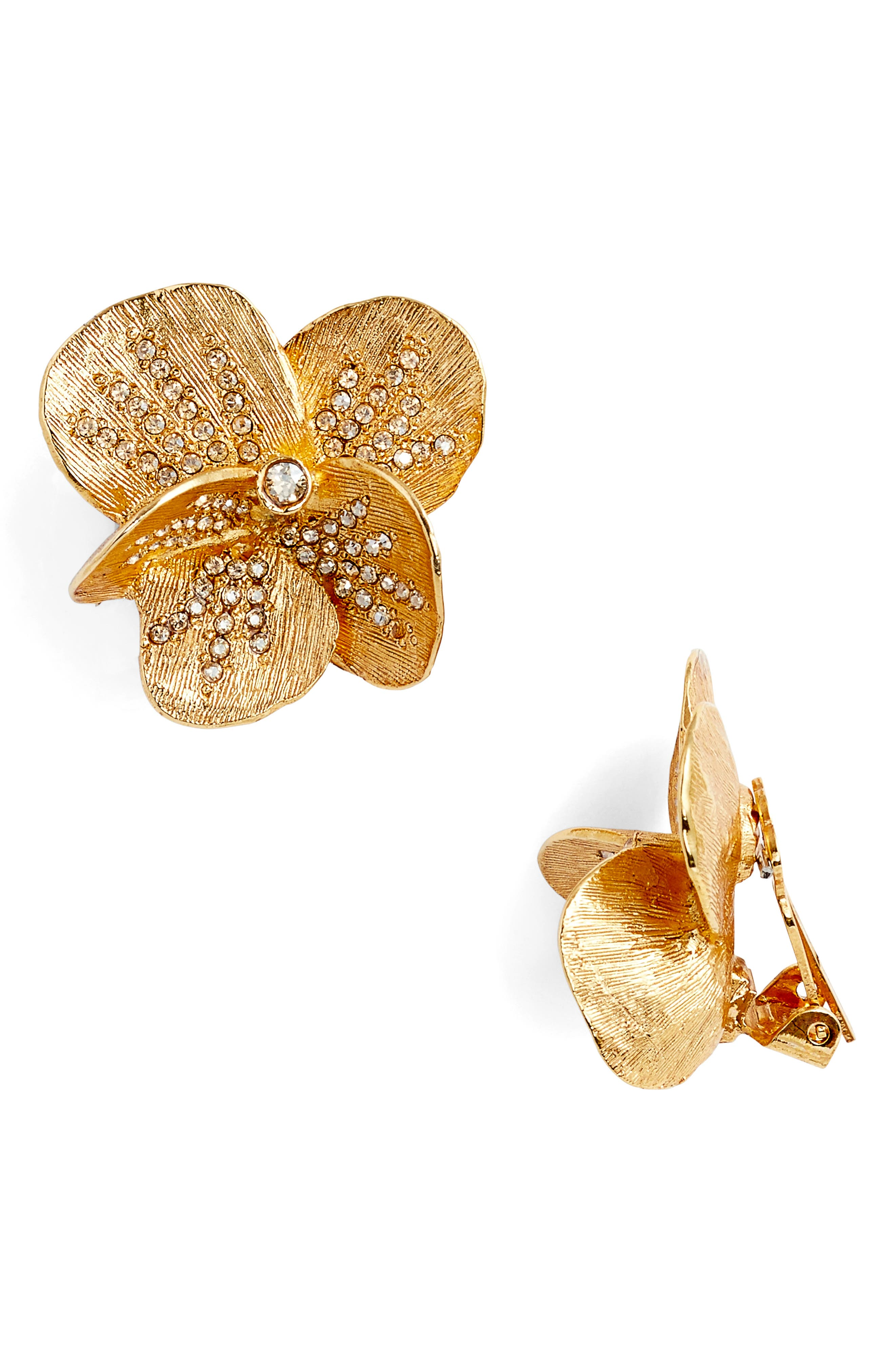 Brushed Pavé Stud Earrings,                         Main,                         color, Gold