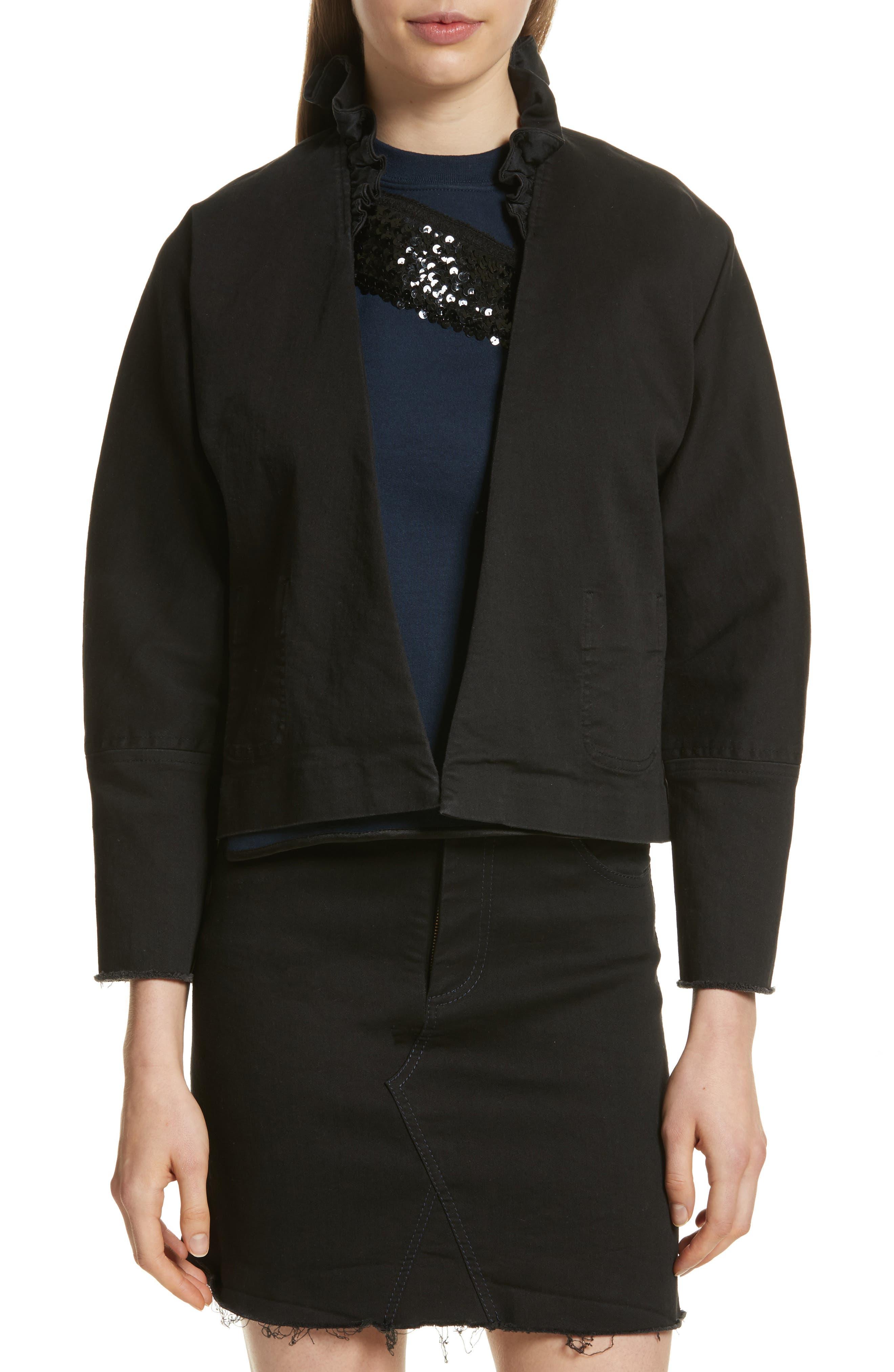 Ruffle Collar Crop Denim Jacket,                             Main thumbnail 1, color,                             Black