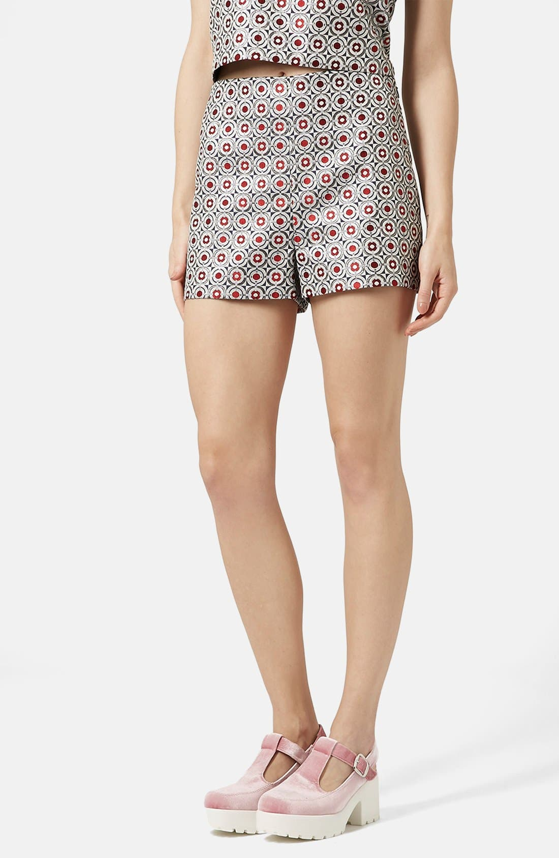 Main Image - Topshop Metallic Geo Jacquard High Waist Shorts (Brit Pop-In) (Nordstrom Exclusive)