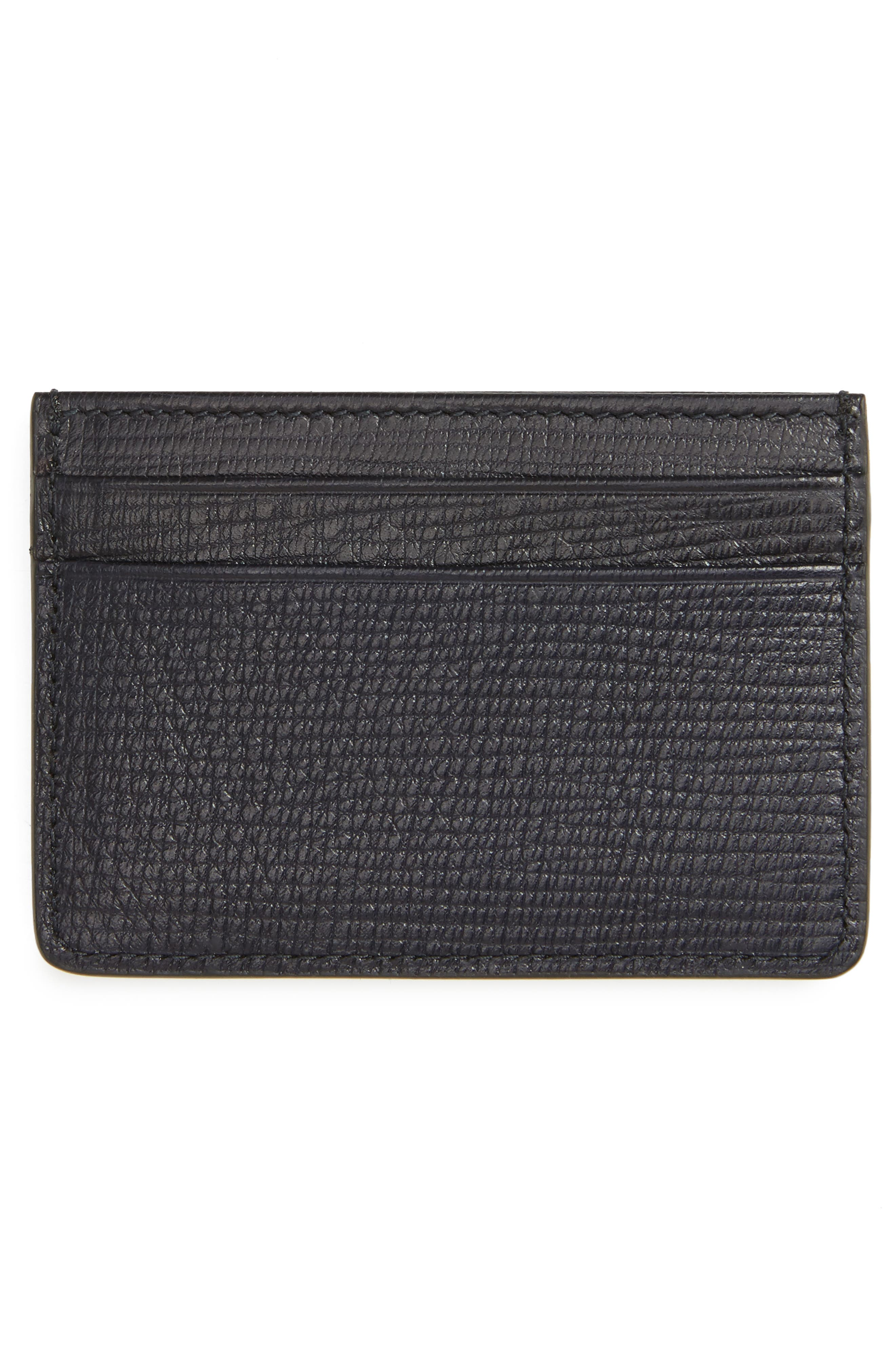 Timeless Leather Card Case,                             Alternate thumbnail 2, color,                             Navy