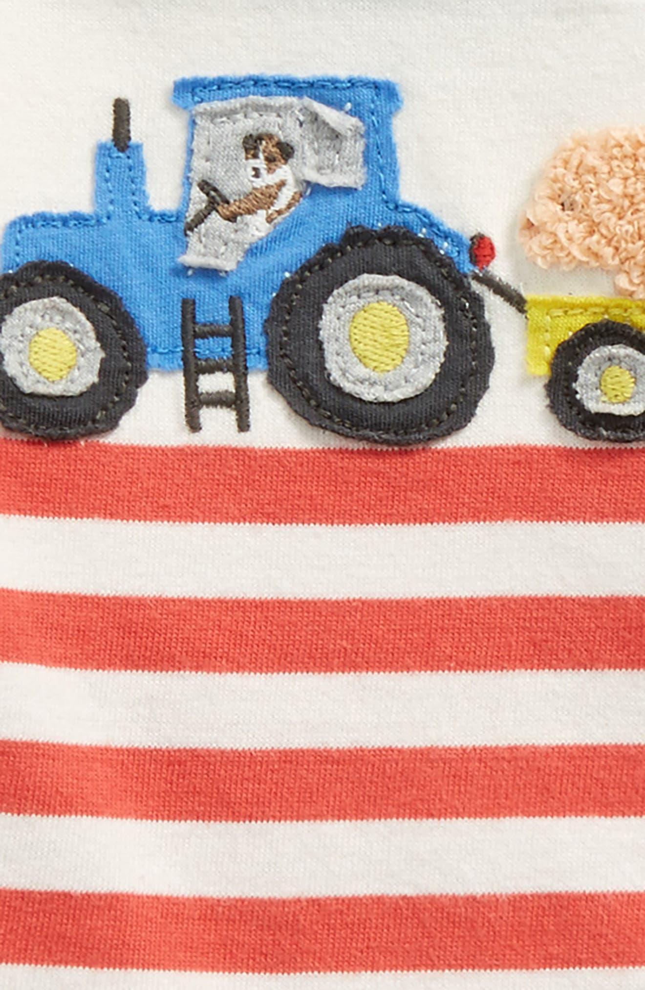 Farm Appliqué T-Shirt,                             Alternate thumbnail 3, color,                             Ecru/ Crayon Red