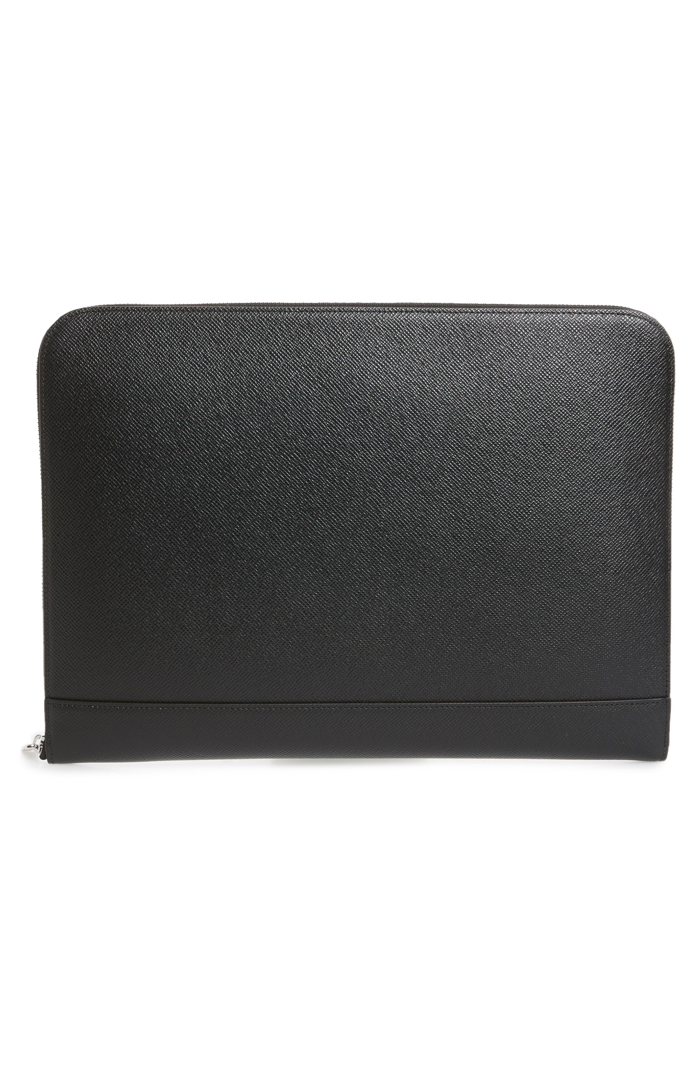 Signature Leather Portfolio,                             Alternate thumbnail 3, color,                             Black