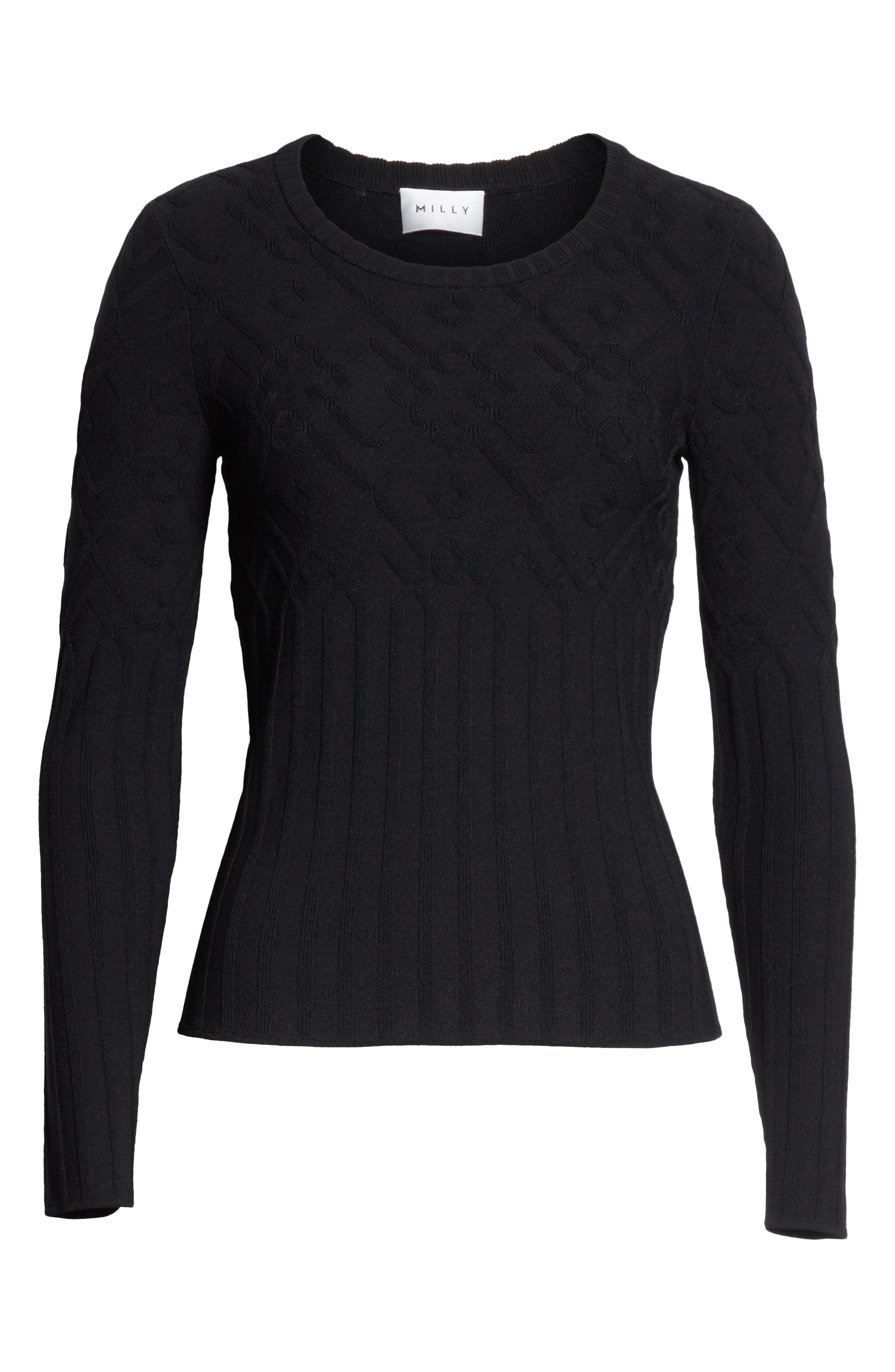 Textured Mosaic Pullover,                             Alternate thumbnail 6, color,                             Black