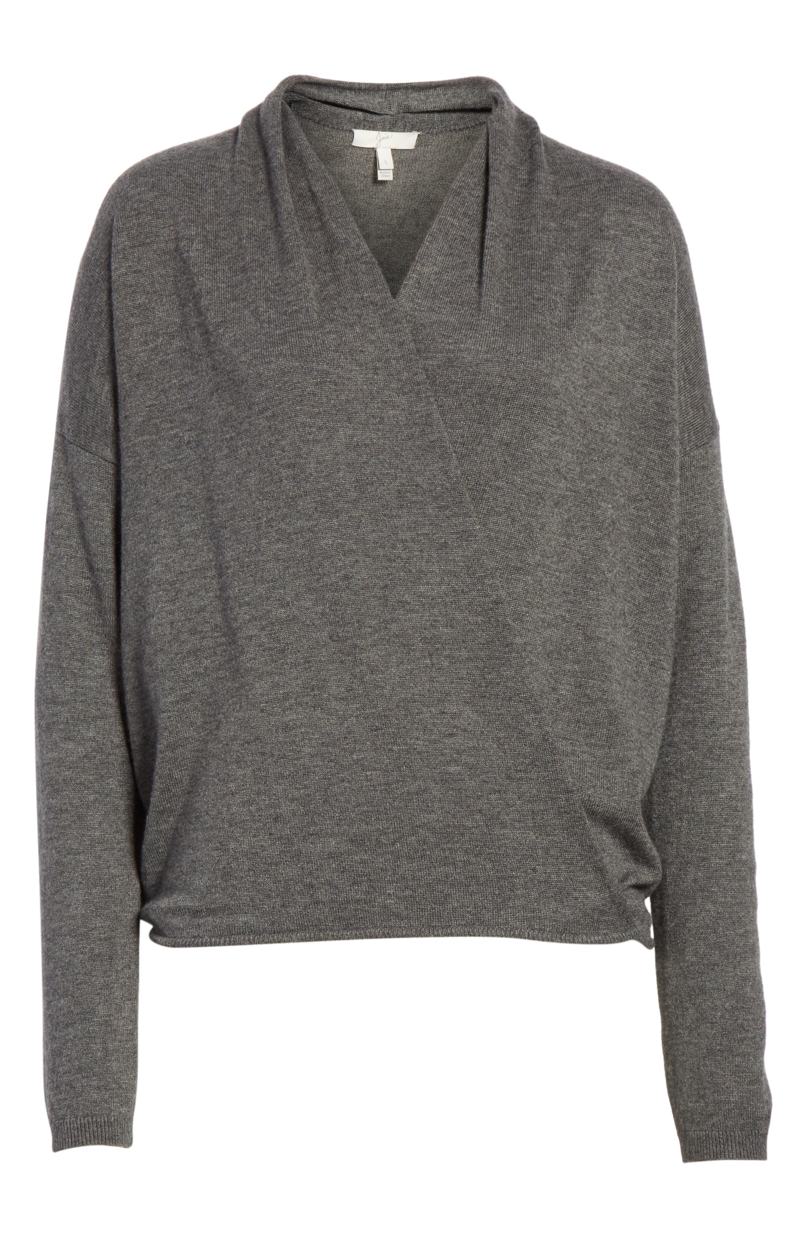 Lien Faux Wrap Sweater,                         Main,                         color, Dark Heather Grey