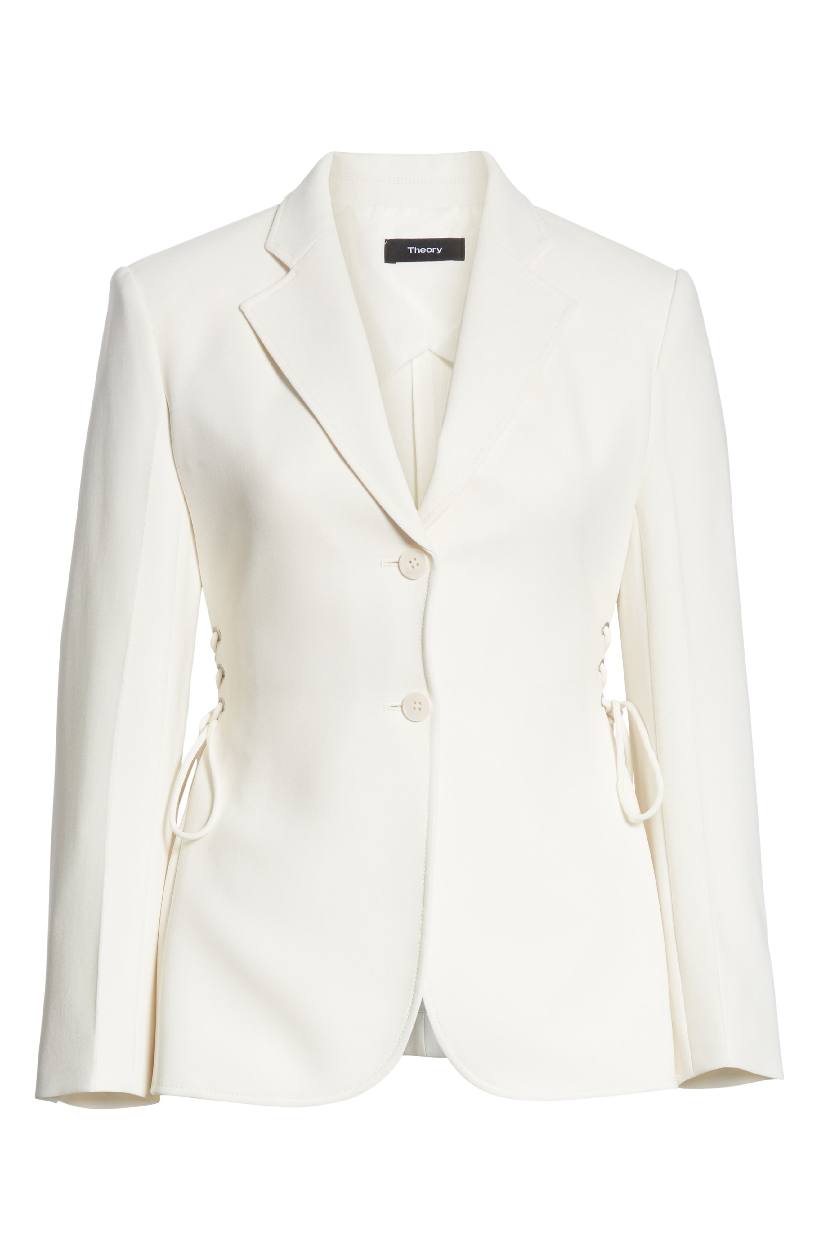 Admiral Crepe Lace-Up Suit Jacket,                             Alternate thumbnail 6, color,                             Warm Ivory