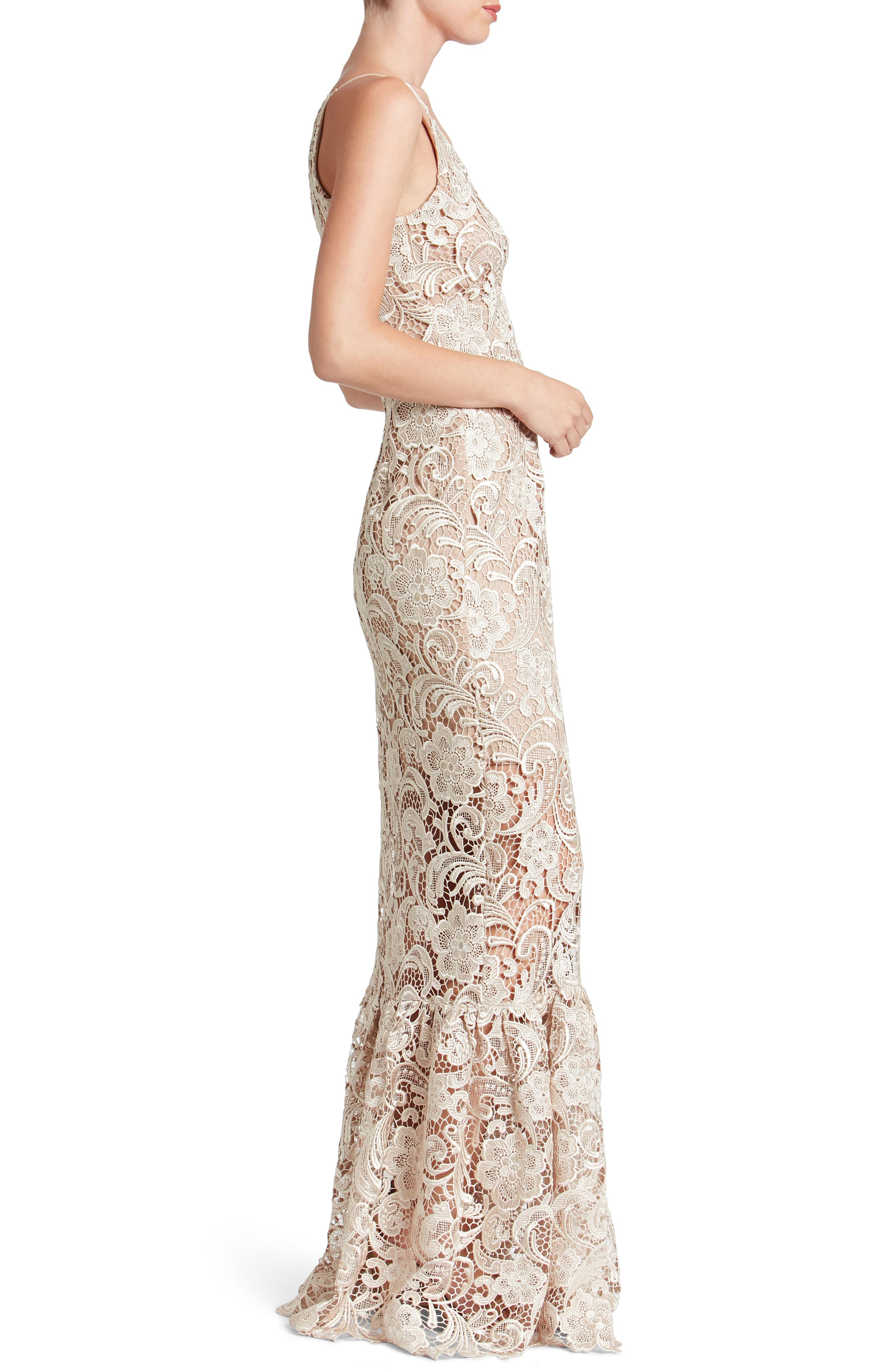 Alternate Image 3  - Dress the Population Sophia Crochet Lace Mermaid Gown