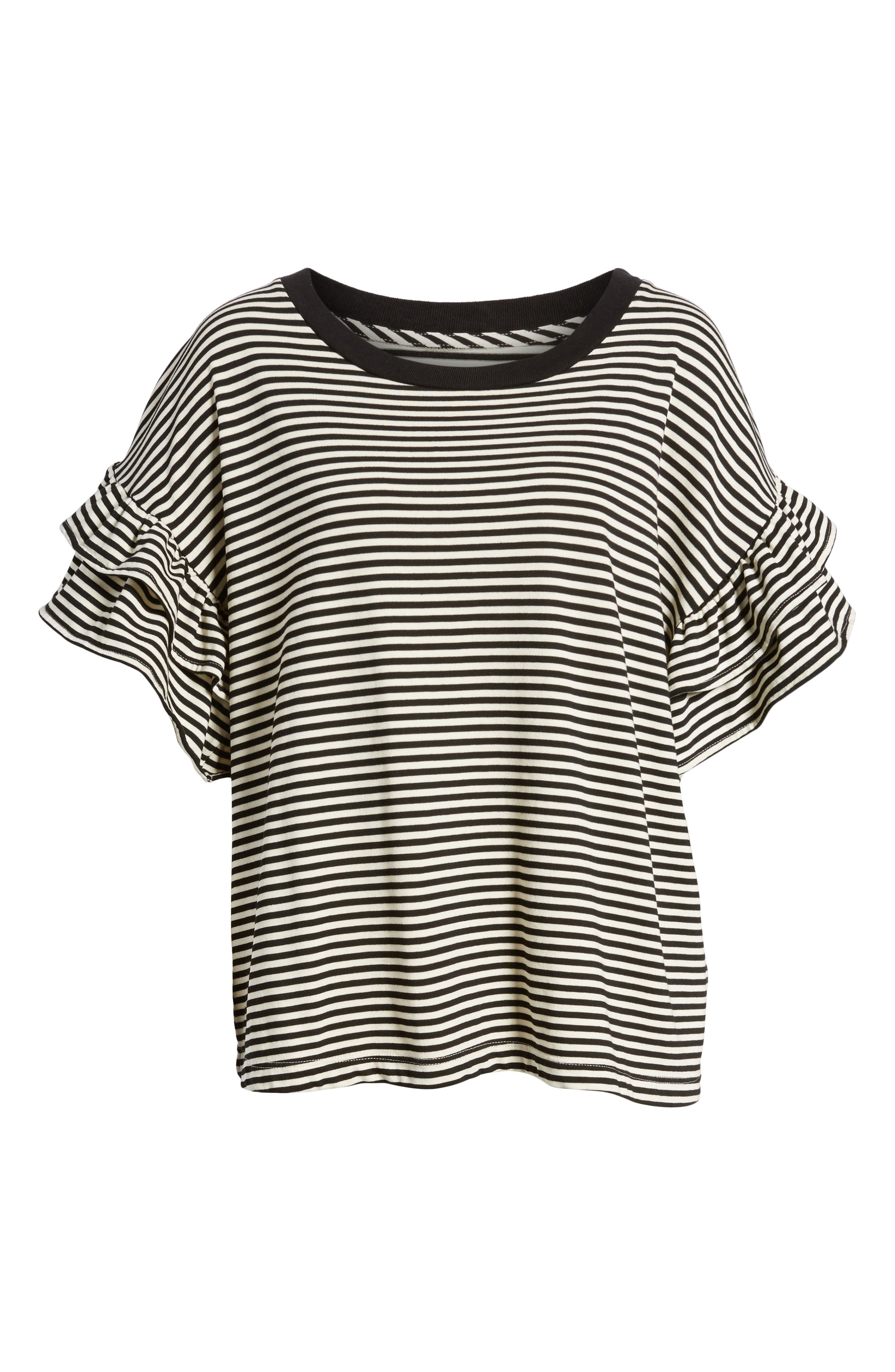 The Carina Tee,                             Alternate thumbnail 7, color,                             Black And White Feeder Stripe