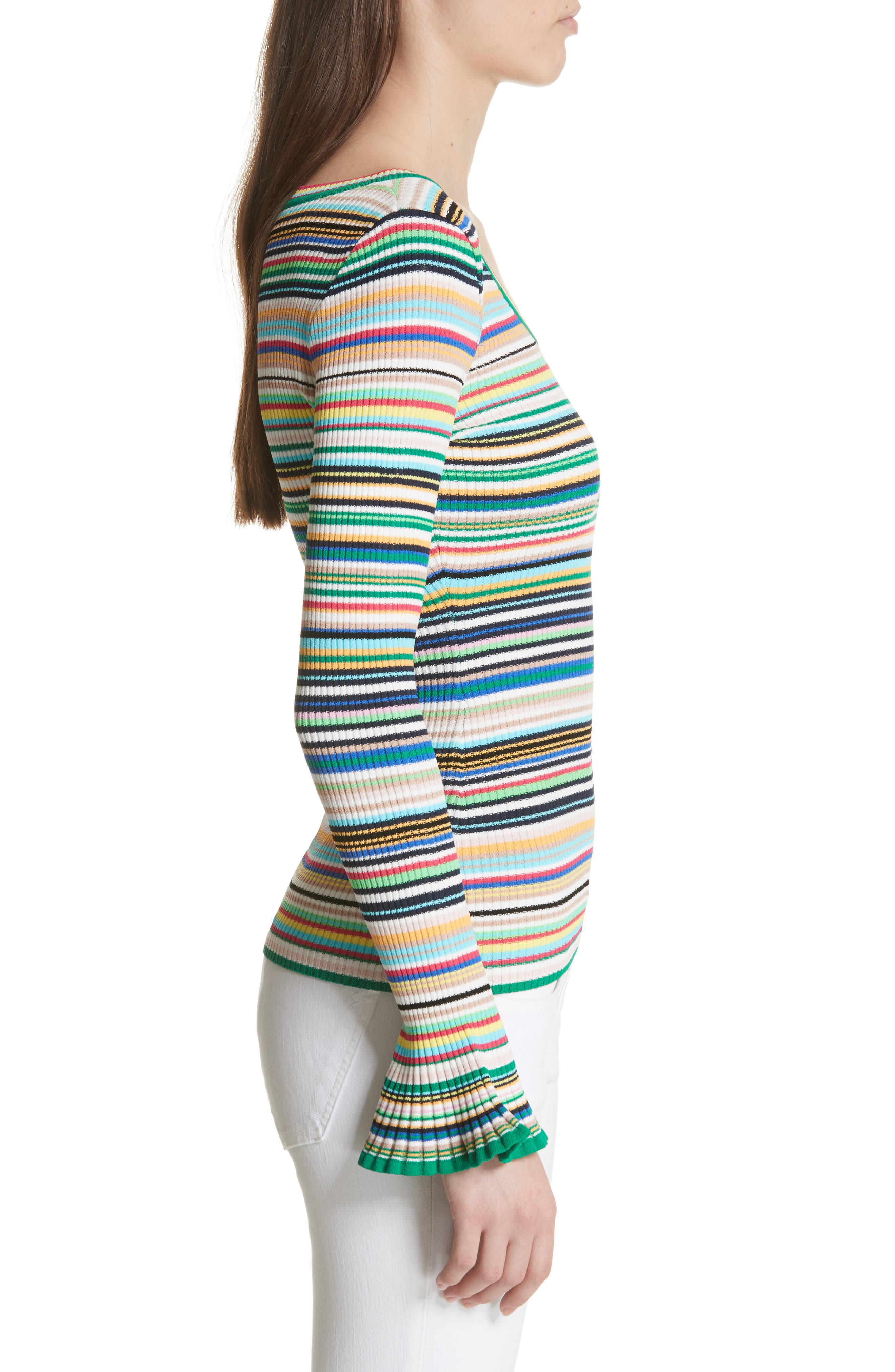 Microstripe Flare Sleeve Pullover,                             Alternate thumbnail 3, color,                             Rainbow Multi