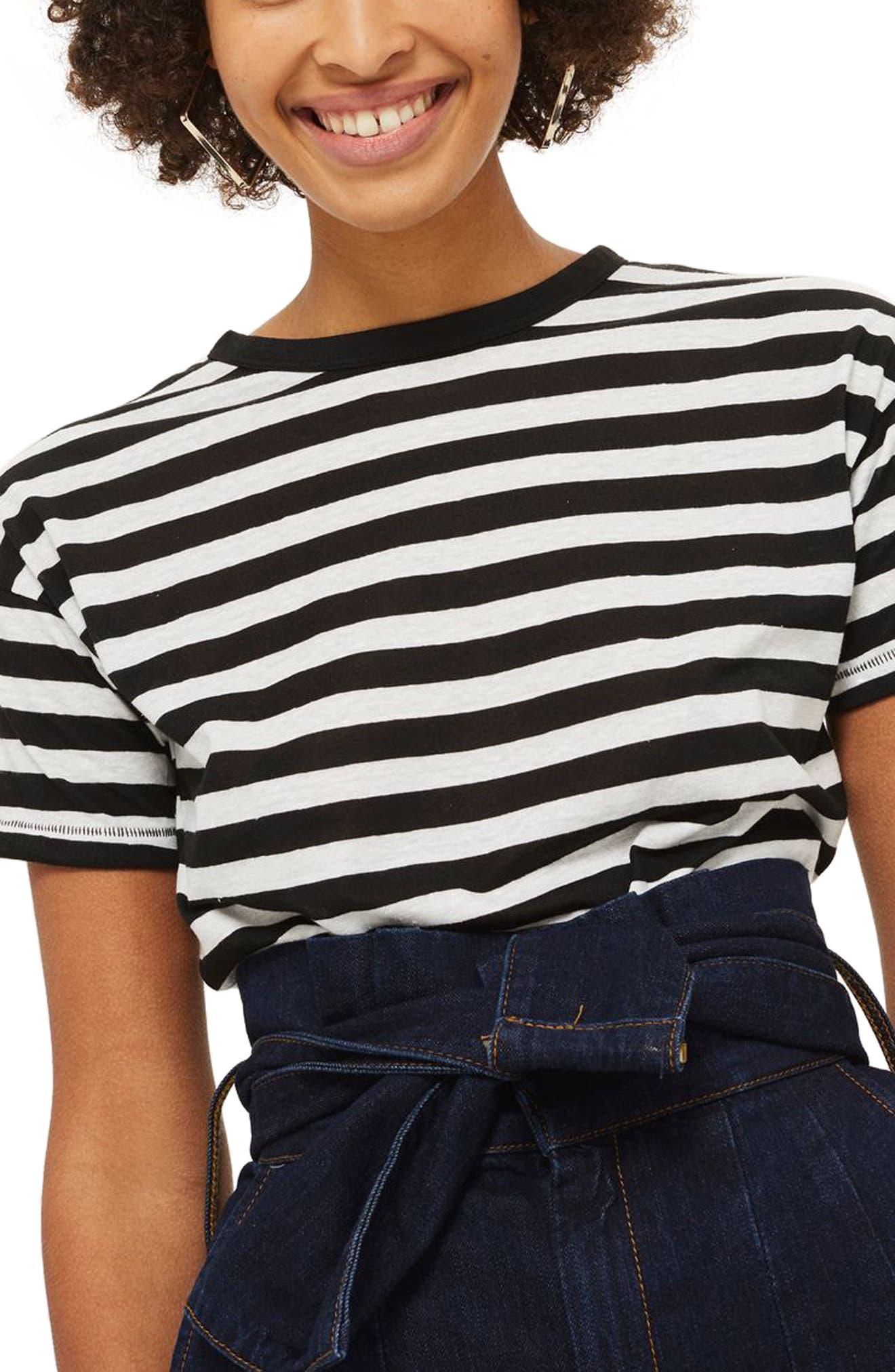 Bold Stripe Tee,                         Main,                         color, Black Multi