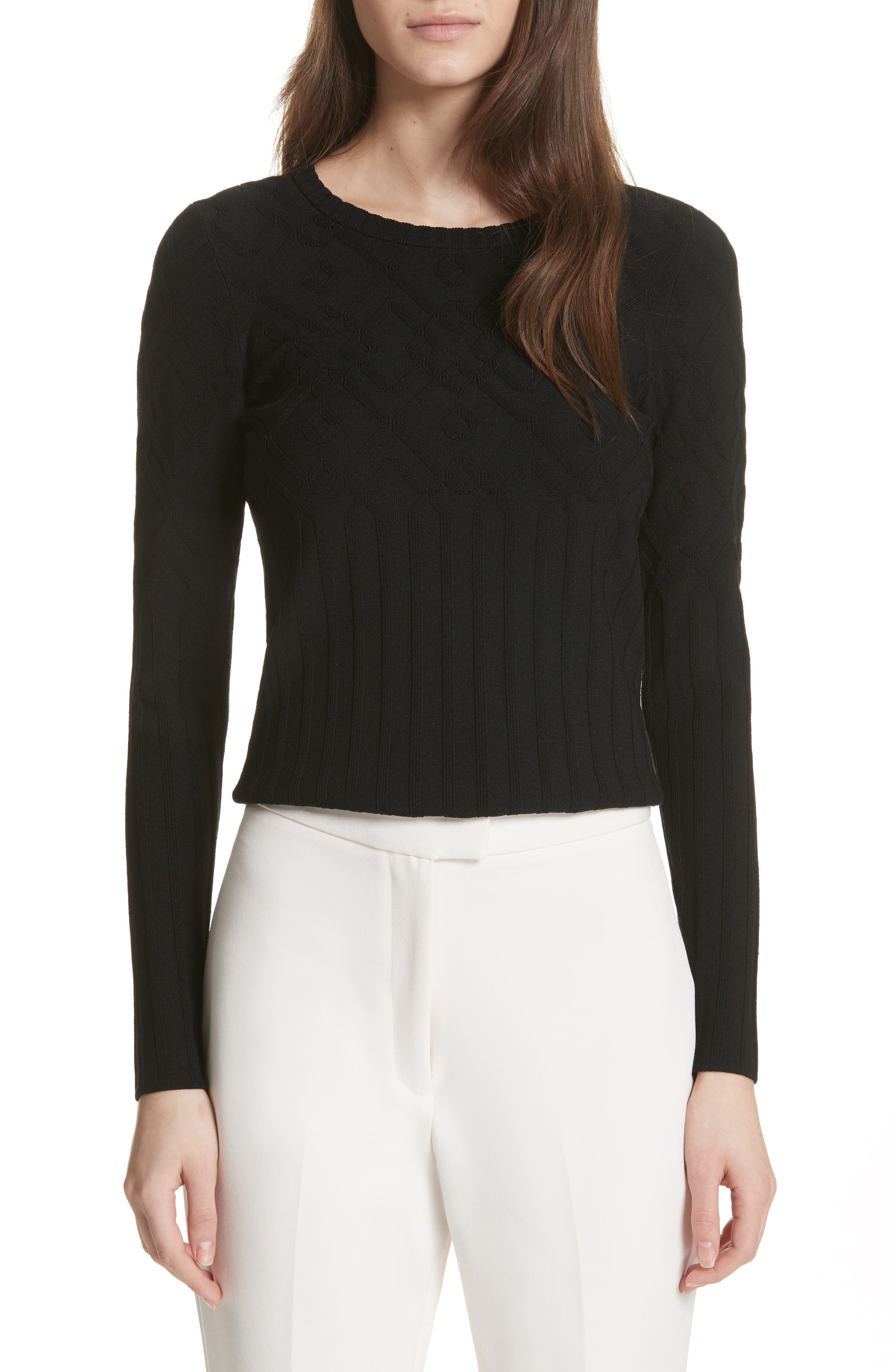 Textured Mosaic Pullover,                         Main,                         color, Black